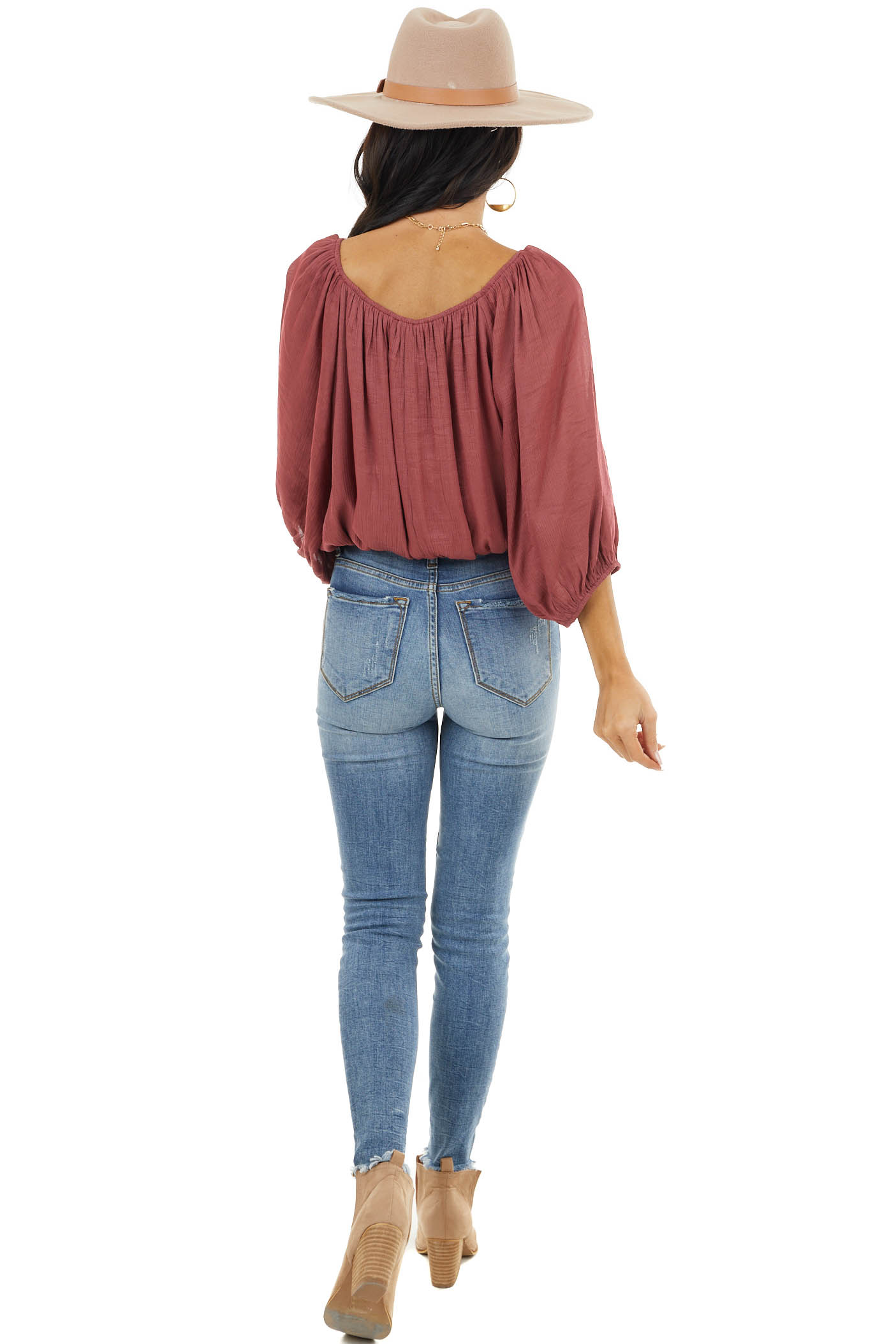 Marsala Boat Neck Crop Top with Long Bubble Sleeves