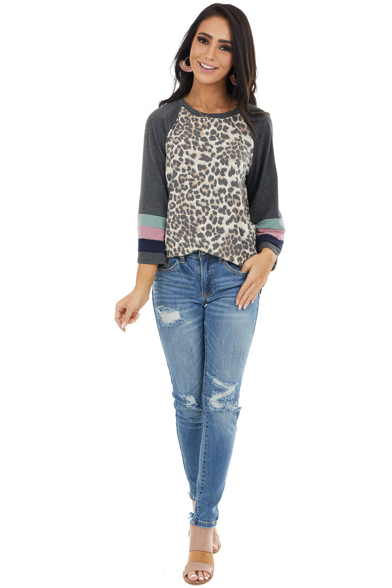Charcoal Leopard Print Knit Top with Long Stripe Bell Sleeve