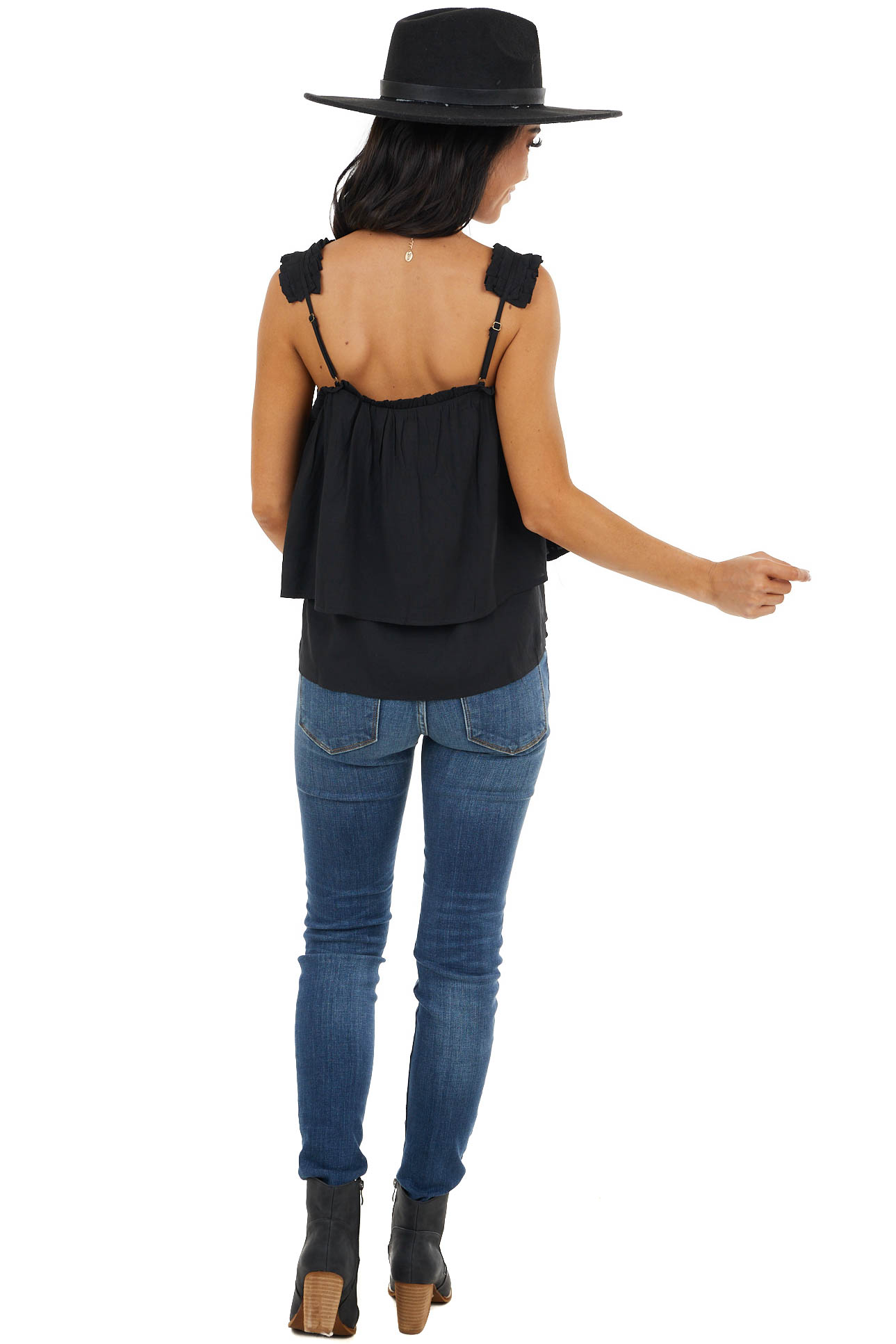 Black Layered Woven Tank Top with Ruffled Straps