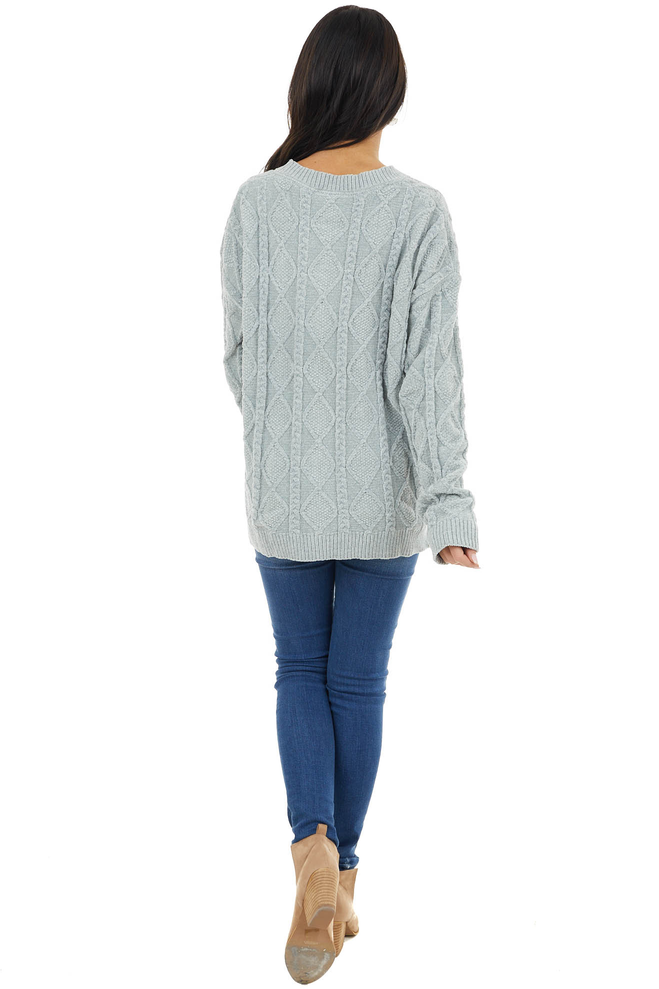 Dusty Mint Long Sleeve Soft Cable Knit Sweater