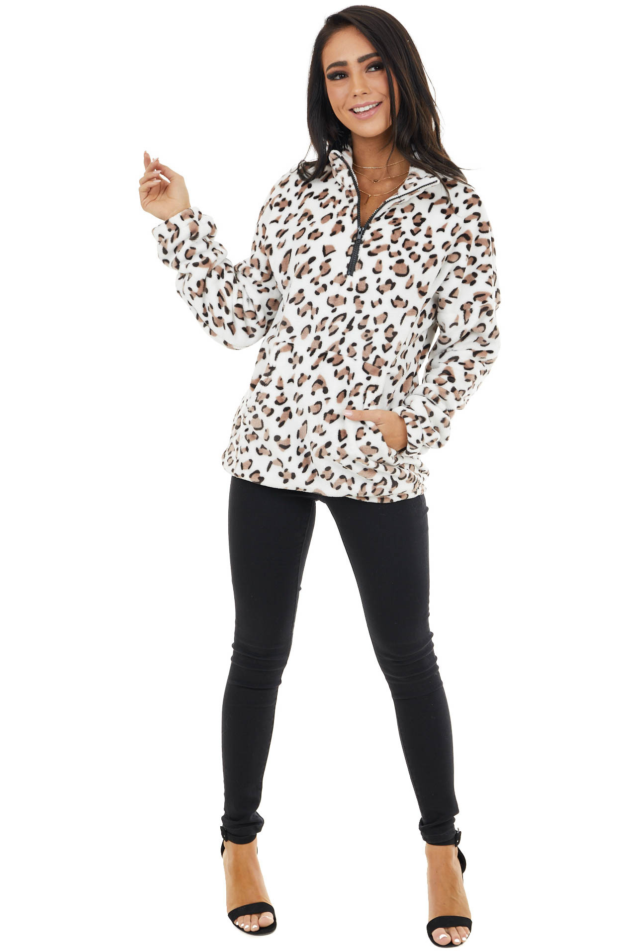 Ivory Leopard Print Pullover Sweater with Kangaroo Pocket