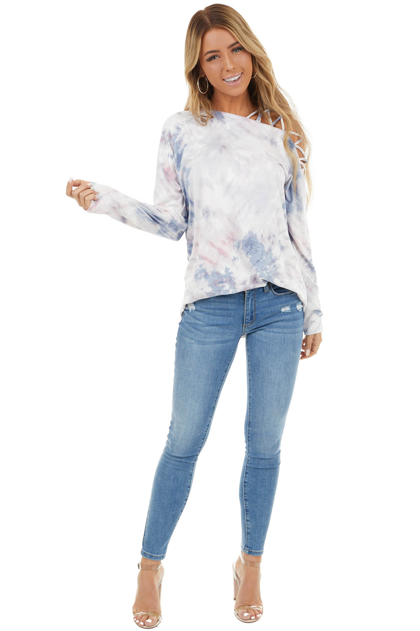 Navy and Fuchsia Tie Dye Top with Criss Cross Shoulder