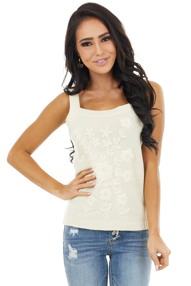 Cream Knit Sleeveless Top with Floral Embroidery Details