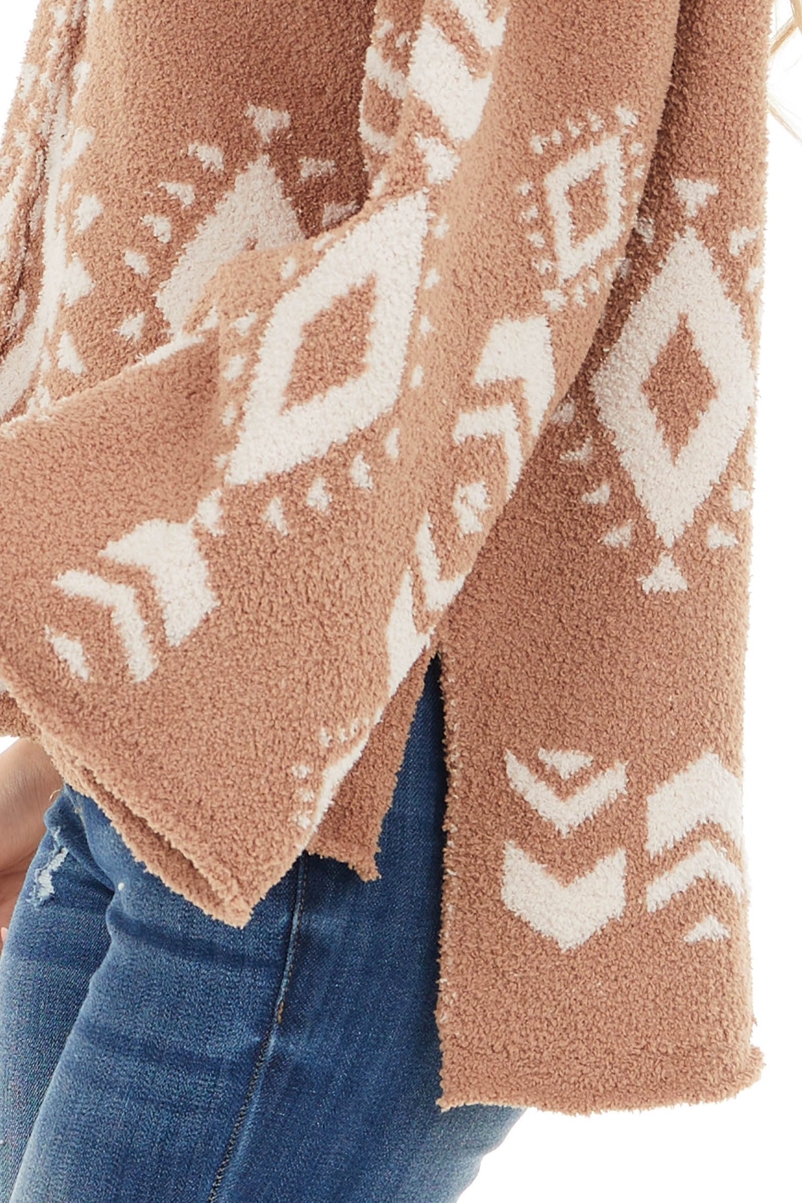 Camel Aztec Print Soft Knit Sweater with Long Sleeves