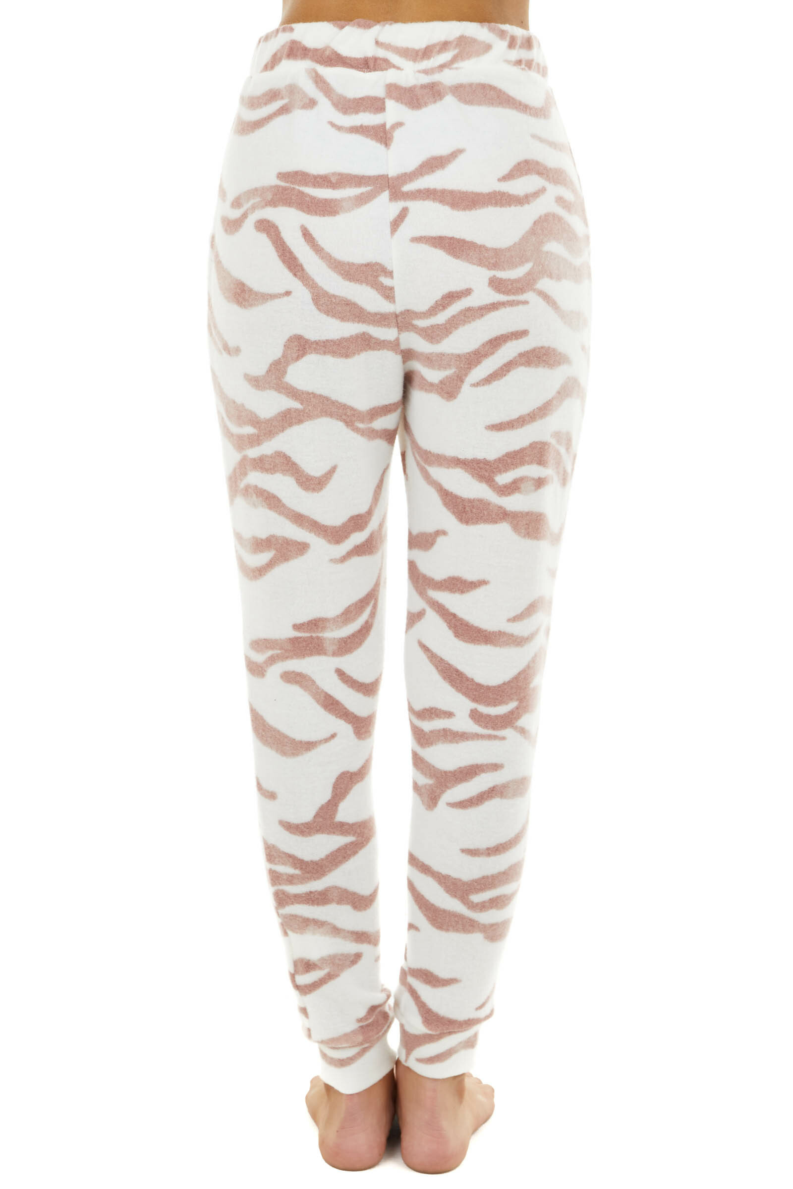 Mauve and Cream Zebra Stripe Print Joggers with Pockets