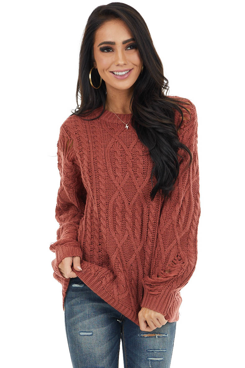 Marsala Chunky Cable Knit Sweater with Distressed Details