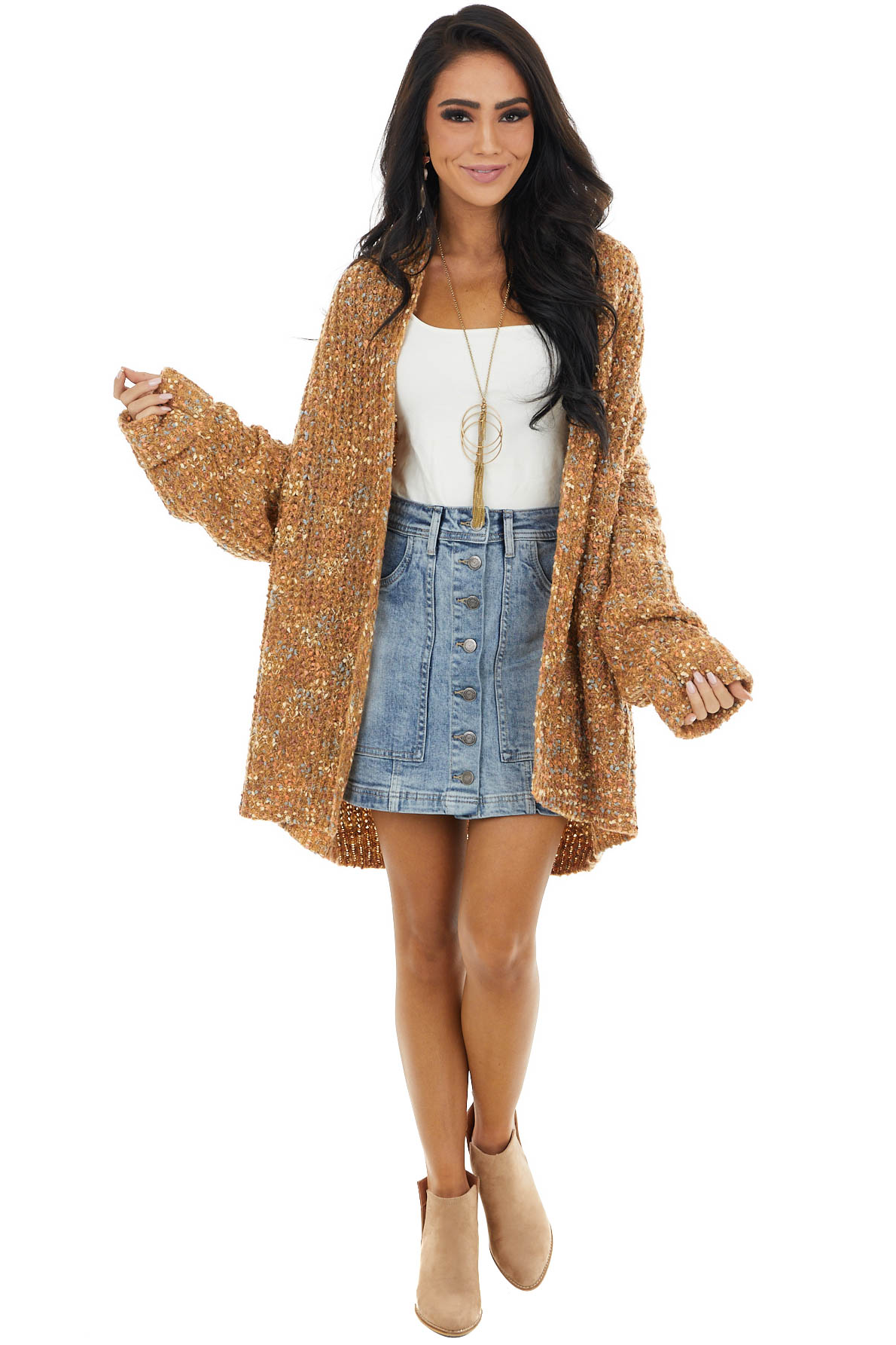 Camel Multicolor Confetti Cardigan with Draped Neckline