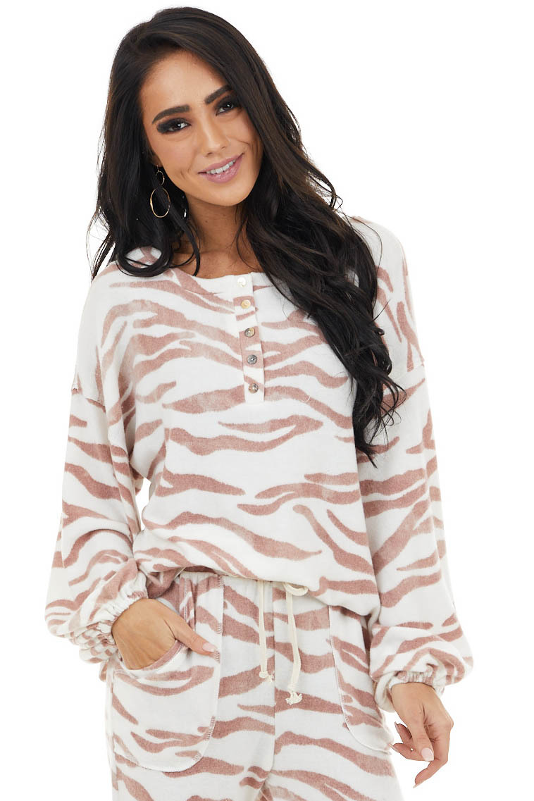 Mauve and Cream Zebra Stripe Print Knit Top with Buttons