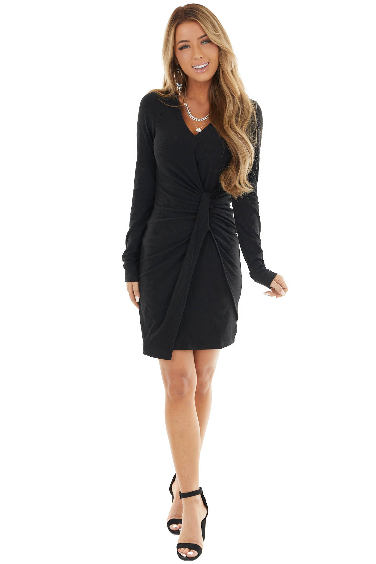 Black Ribbed Bodycon Short Dress With Front Twist Detail