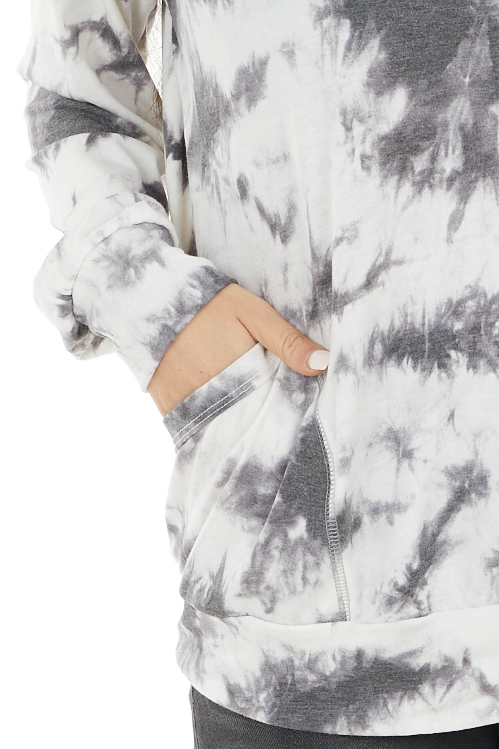 Charcoal Tie Dye Long Sleeve Hoodie with Two Pockets
