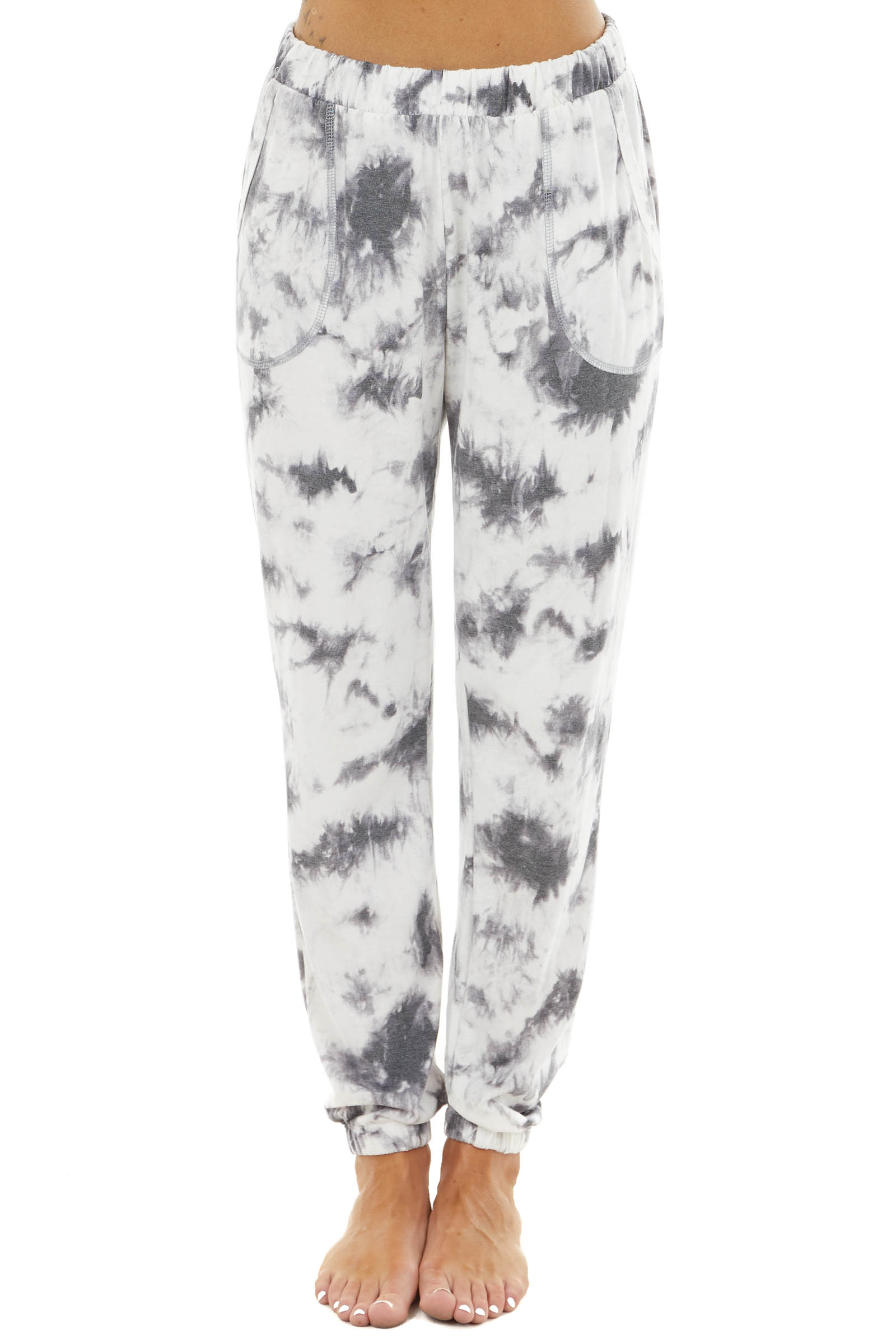 Charcoal Tie Dye Elastic Waist and Cuff Joggers with Pockets