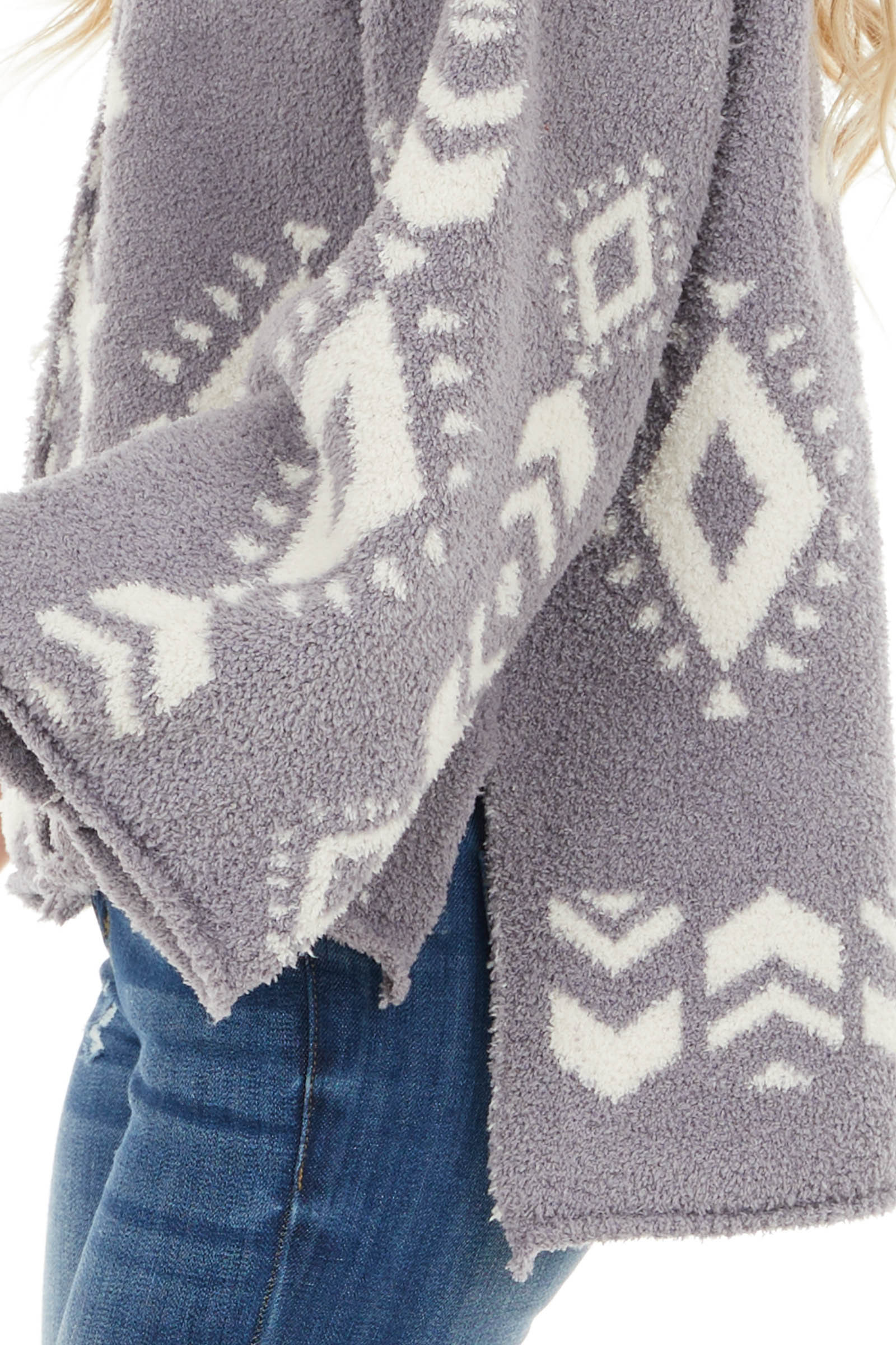 Dove Grey Aztec Print Soft Knit Sweater with Long Sleeves