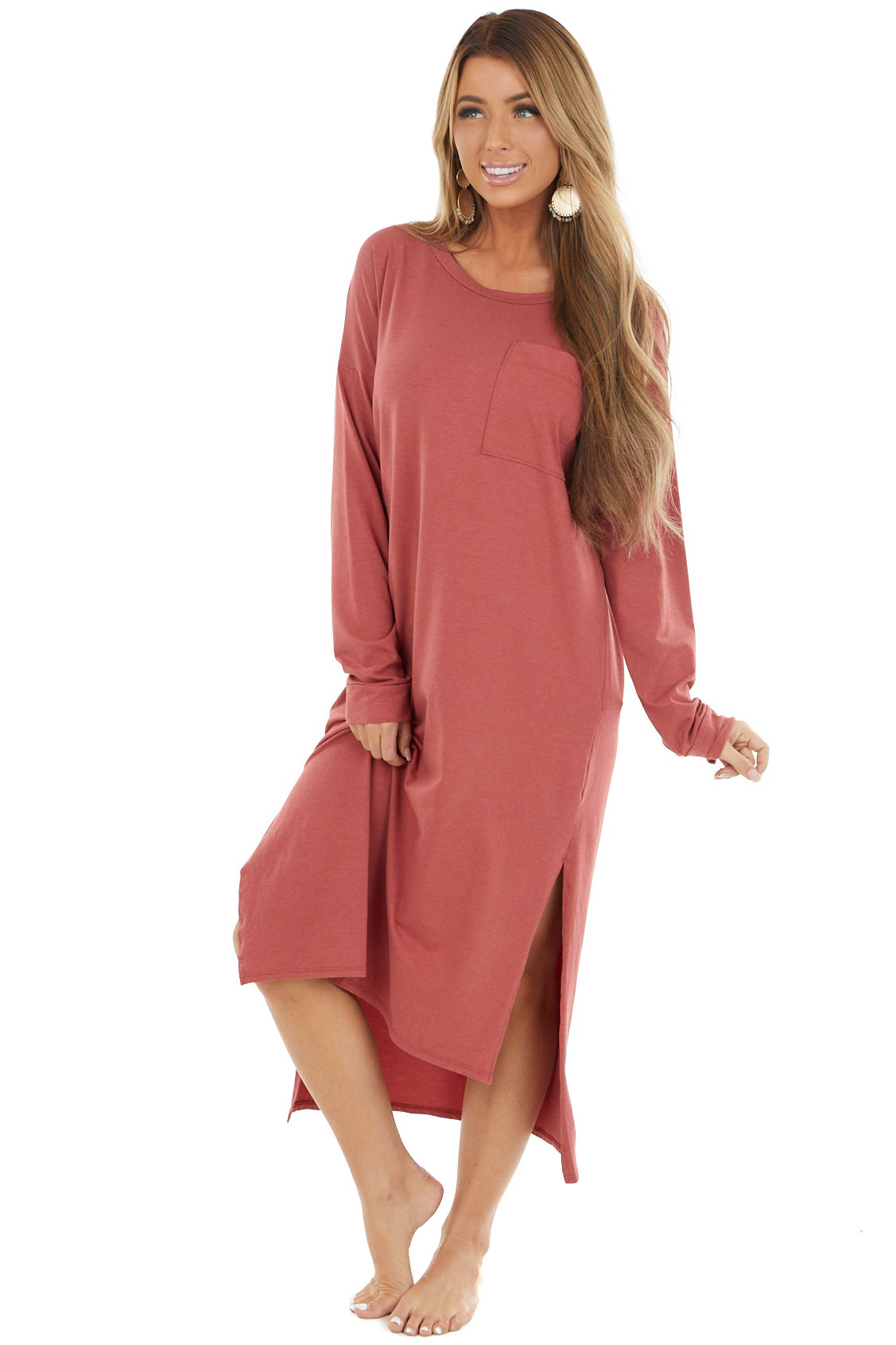 Terracotta High Low Long Sleeve Midi Dress with Chest Pocket