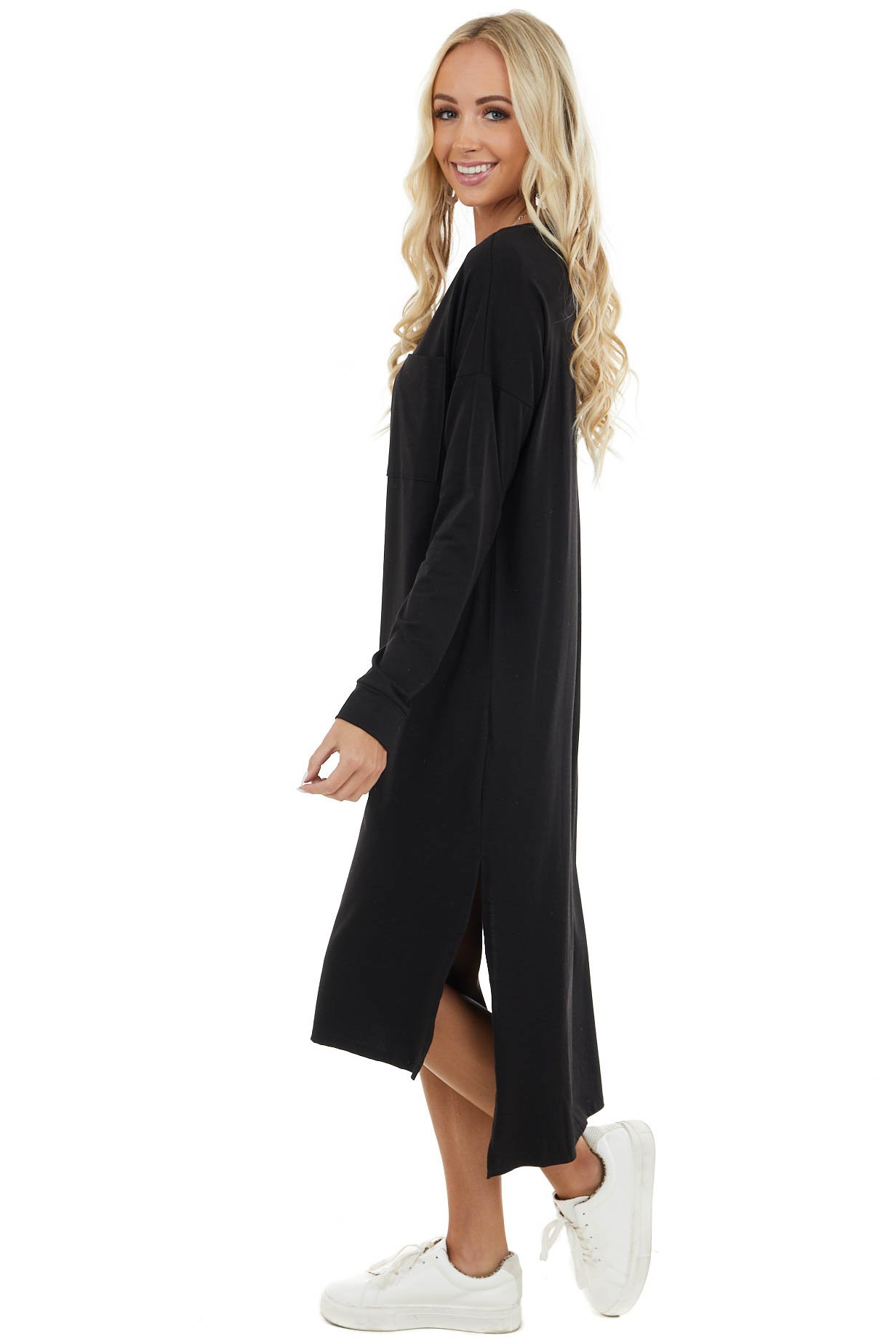 Black High Low Long Sleeve Midi Dress with Chest Pocket