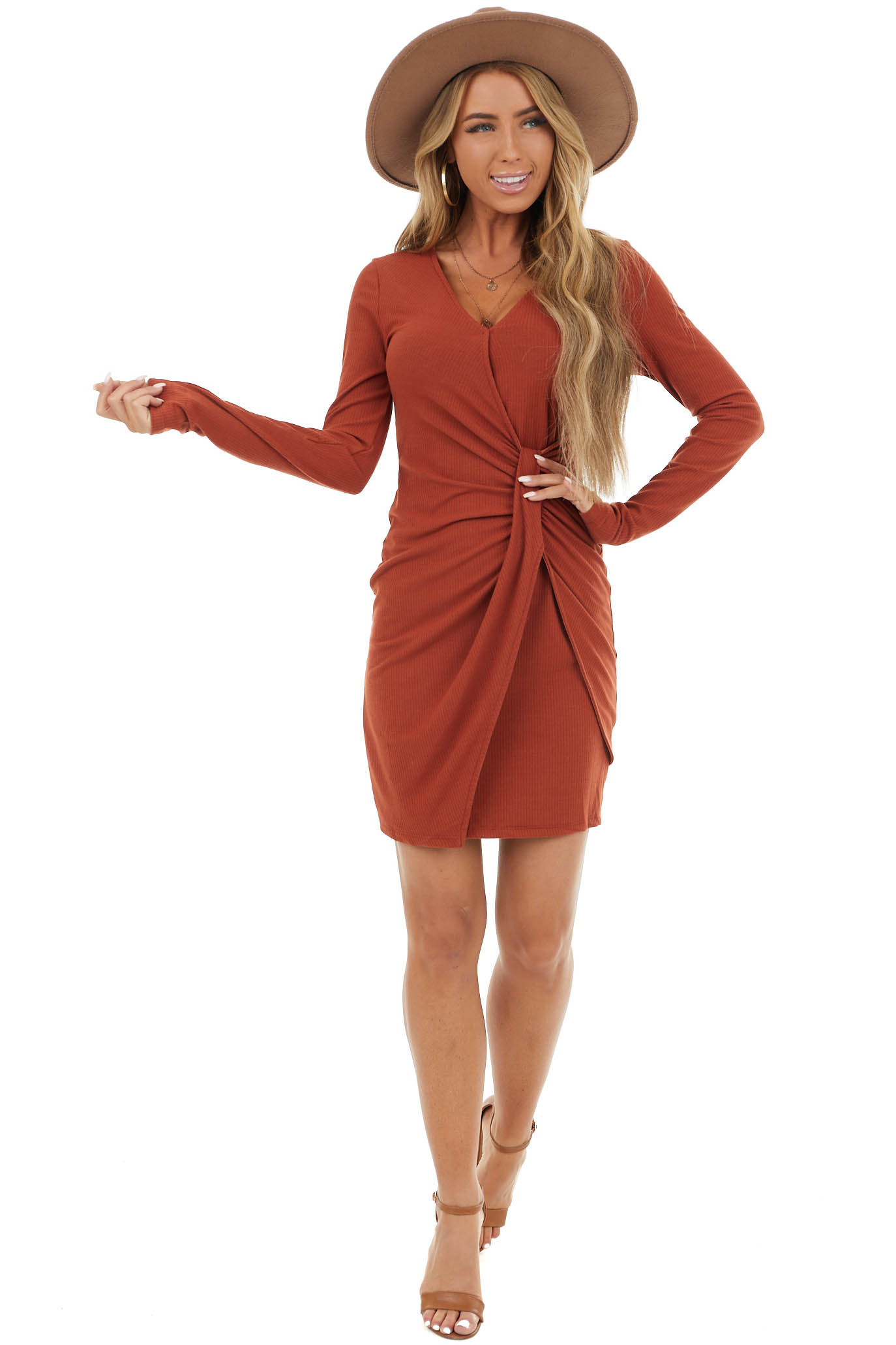 Rust Ribbed Bodycon Short Dress With Front Twist Detail