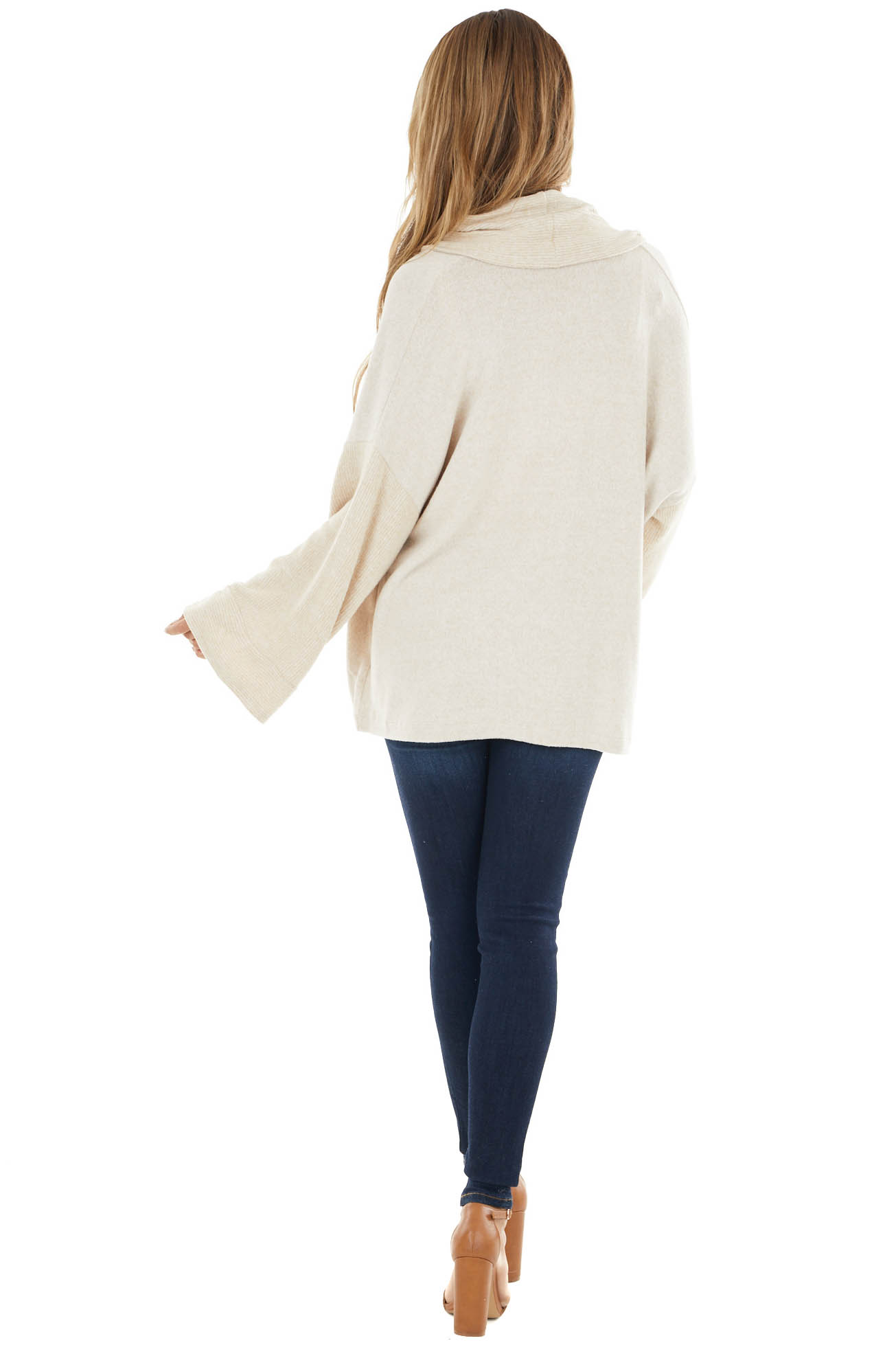 Oatmeal Fuzzy Cardigan with Loose Sleeves and Ribbed Trim