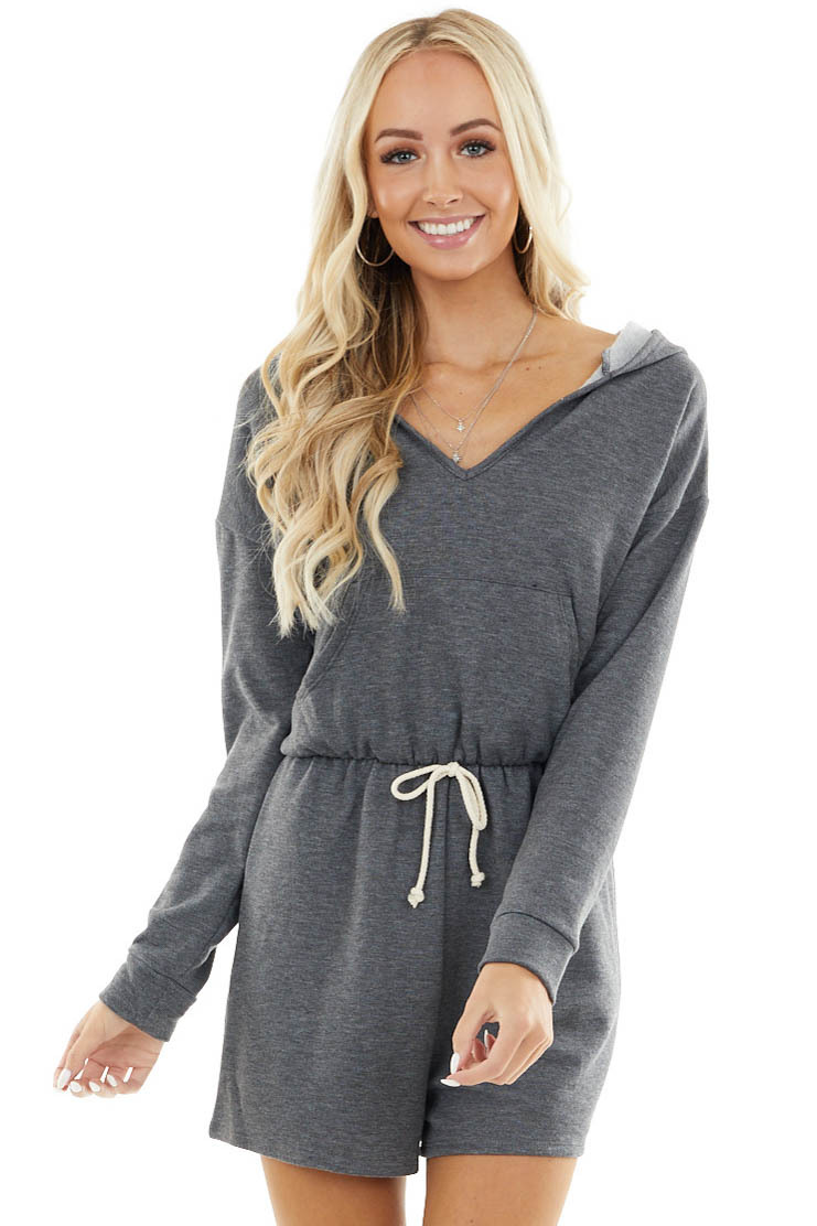 Stone Grey Long Sleeve Hooded Romper with Drawstring Waist