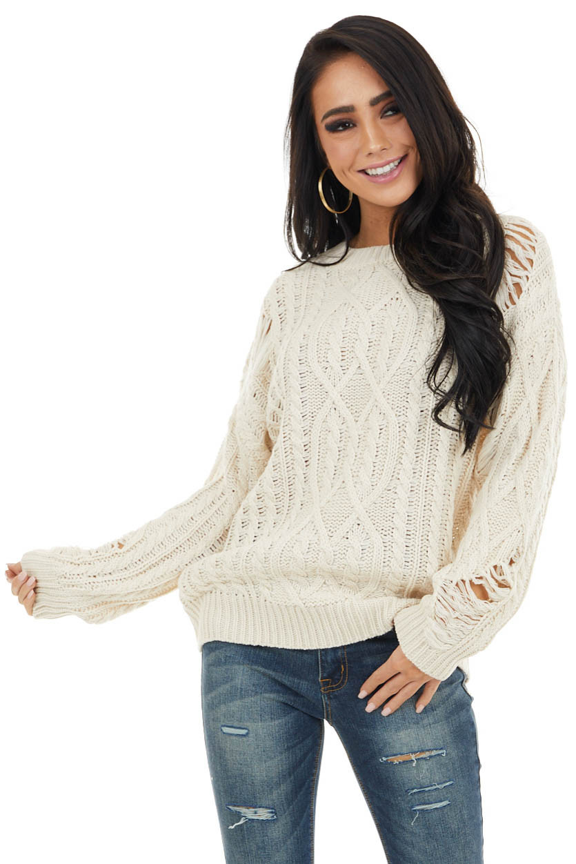 Cream Chunky Cable Knit Sweater with Distressed Details