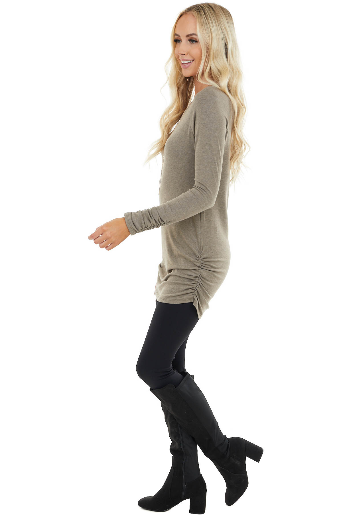 Taupe Long Raglan Sleeve Top with Ruching Details