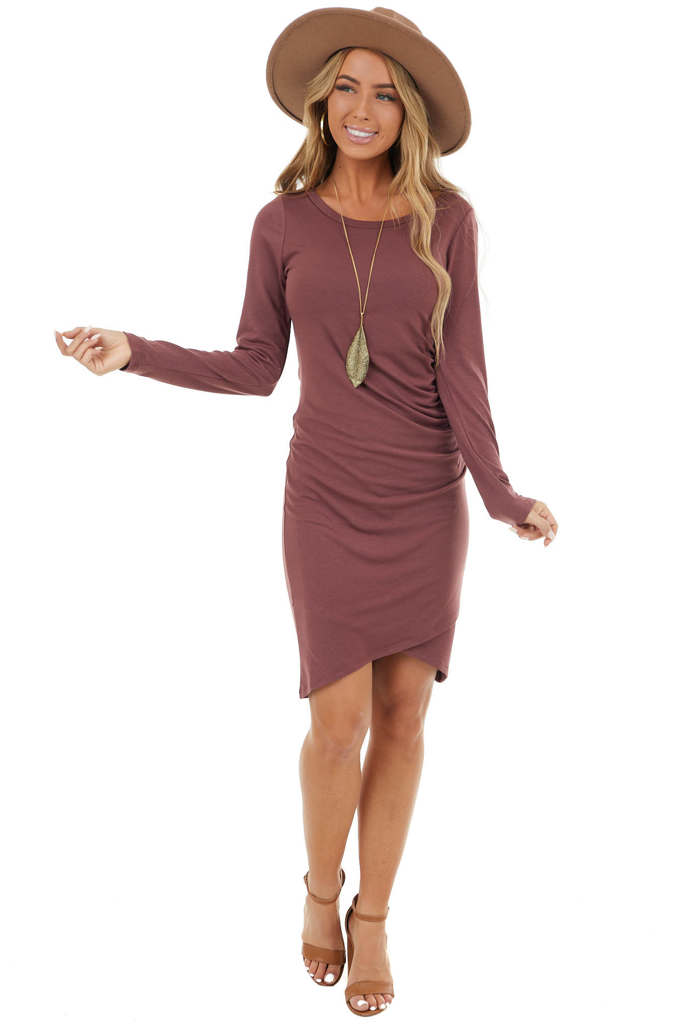 Marsala Long Sleeve Mini Dress with Side Ruching