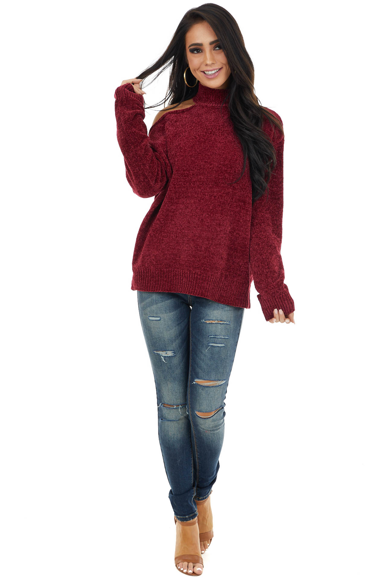 Wine Cold Shoulder Chenille Sweater with Long Sleeves