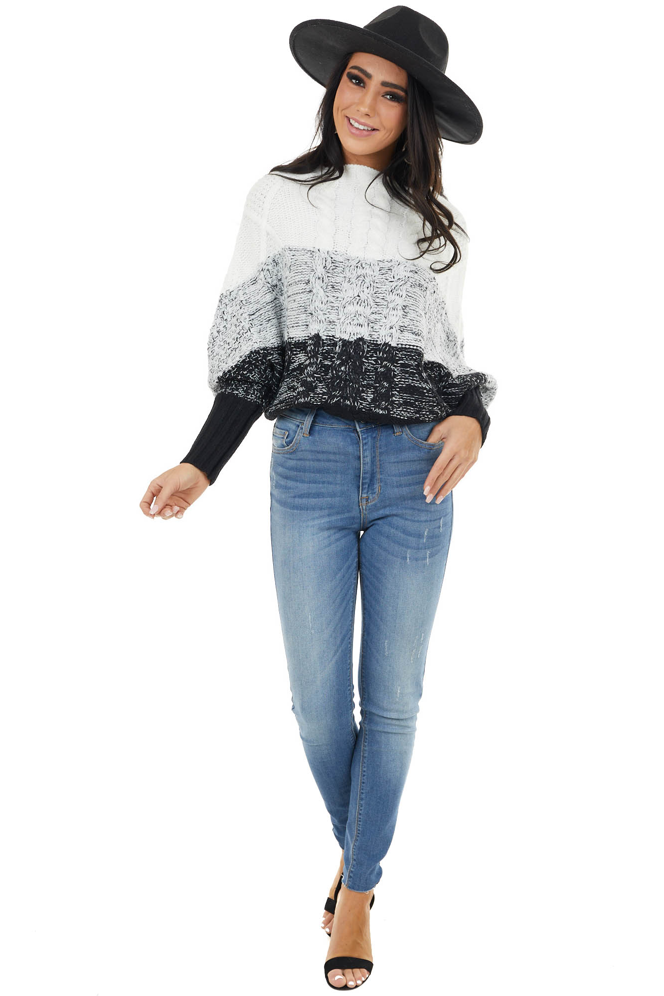 Black Color Block Cable Knit Sweater with Dolman Sleeves