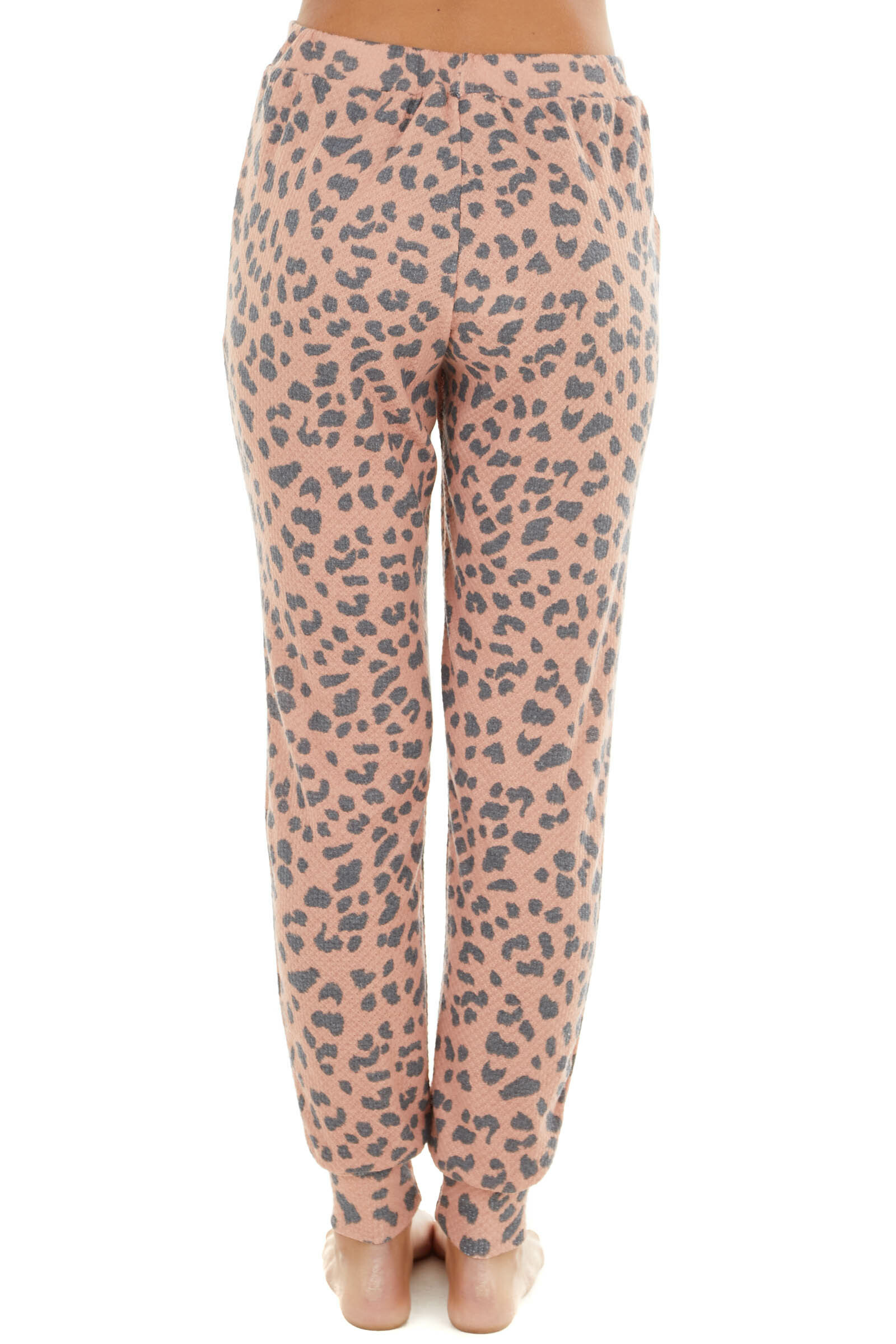 Dusty Coral Leopard Print Waffle Knit Joggers with Pockets