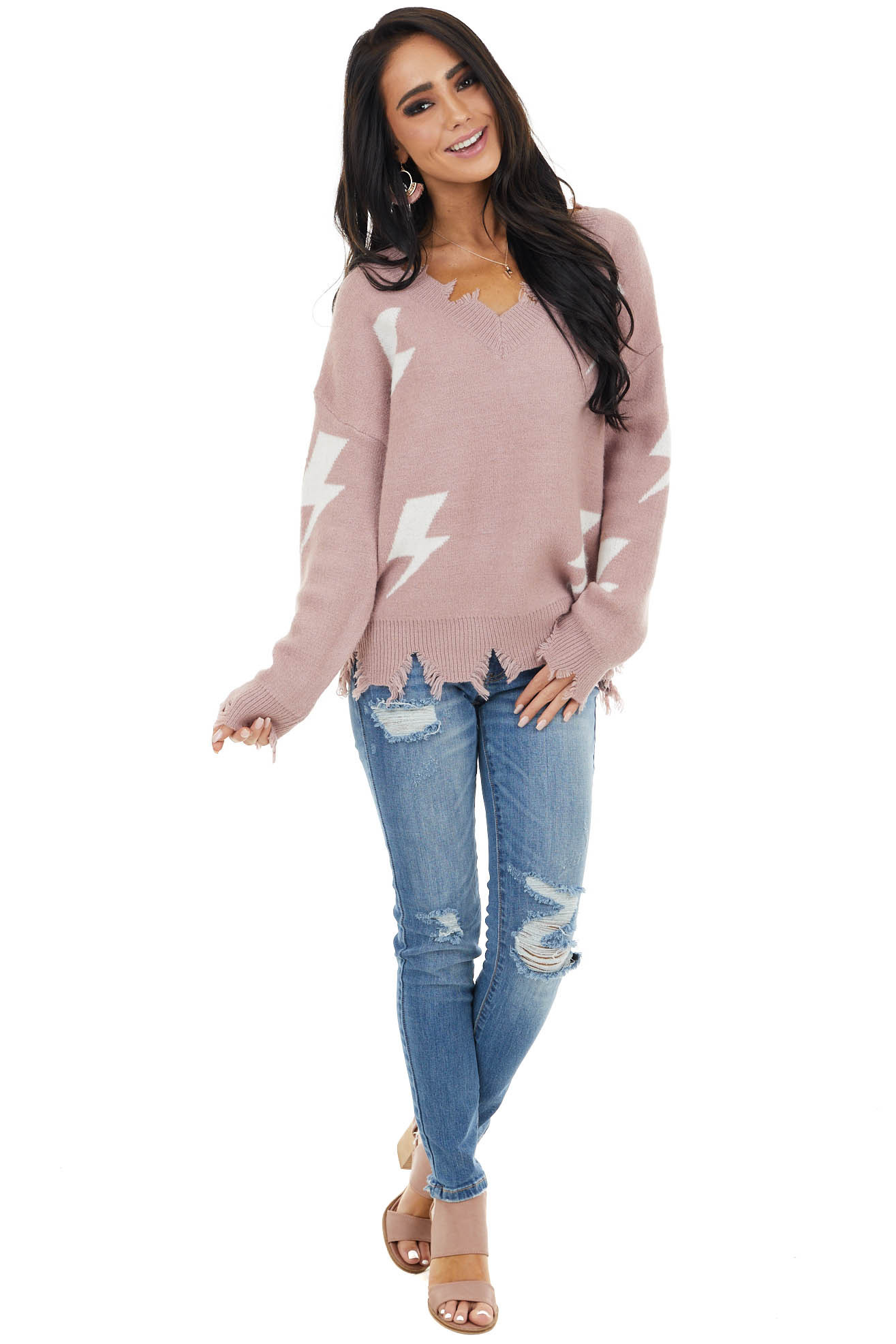 Mauve Lightning Bolt Print Sweater with Distressed Details