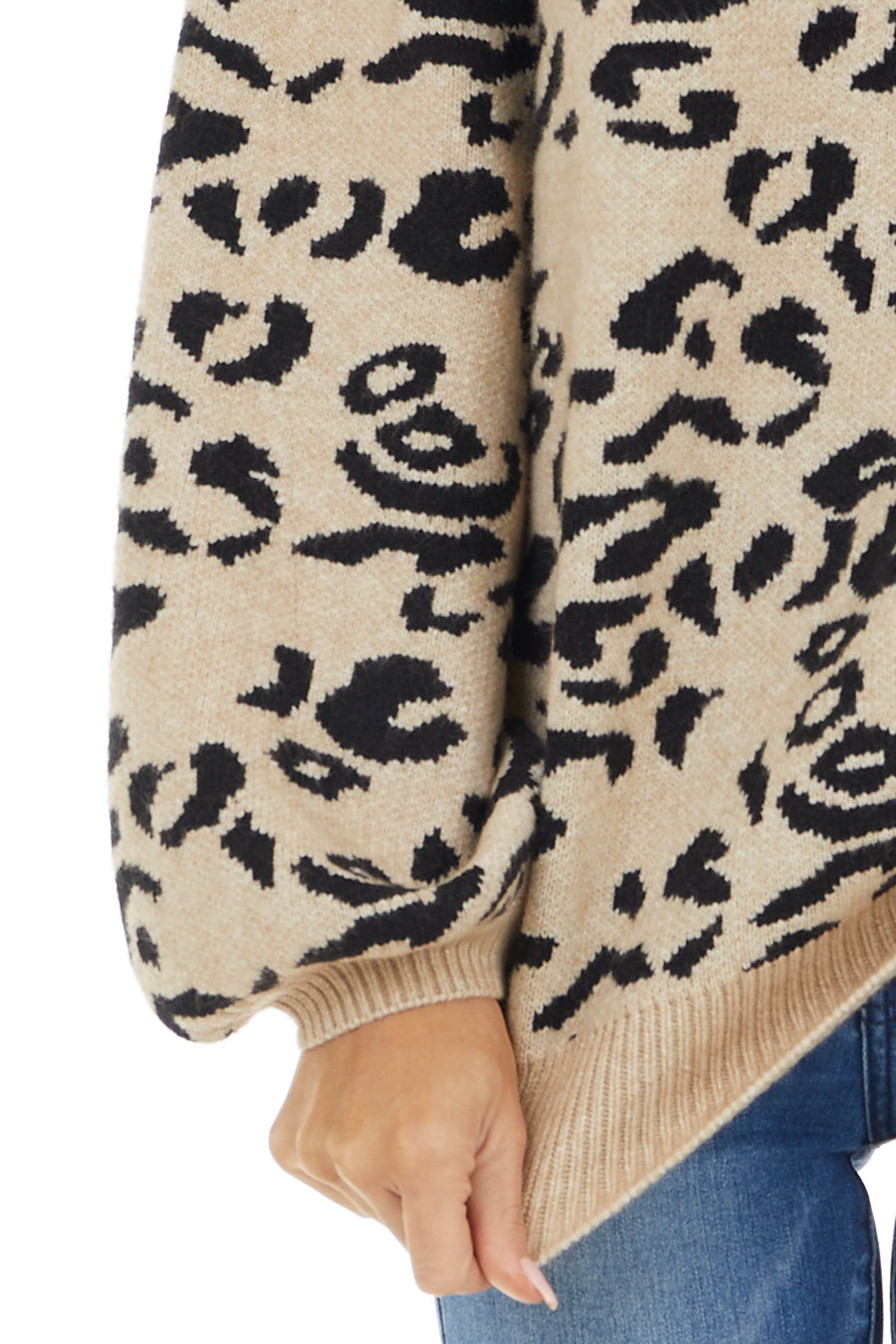 Beige Leopard Knit Sweater with Long Balloon Sleeves