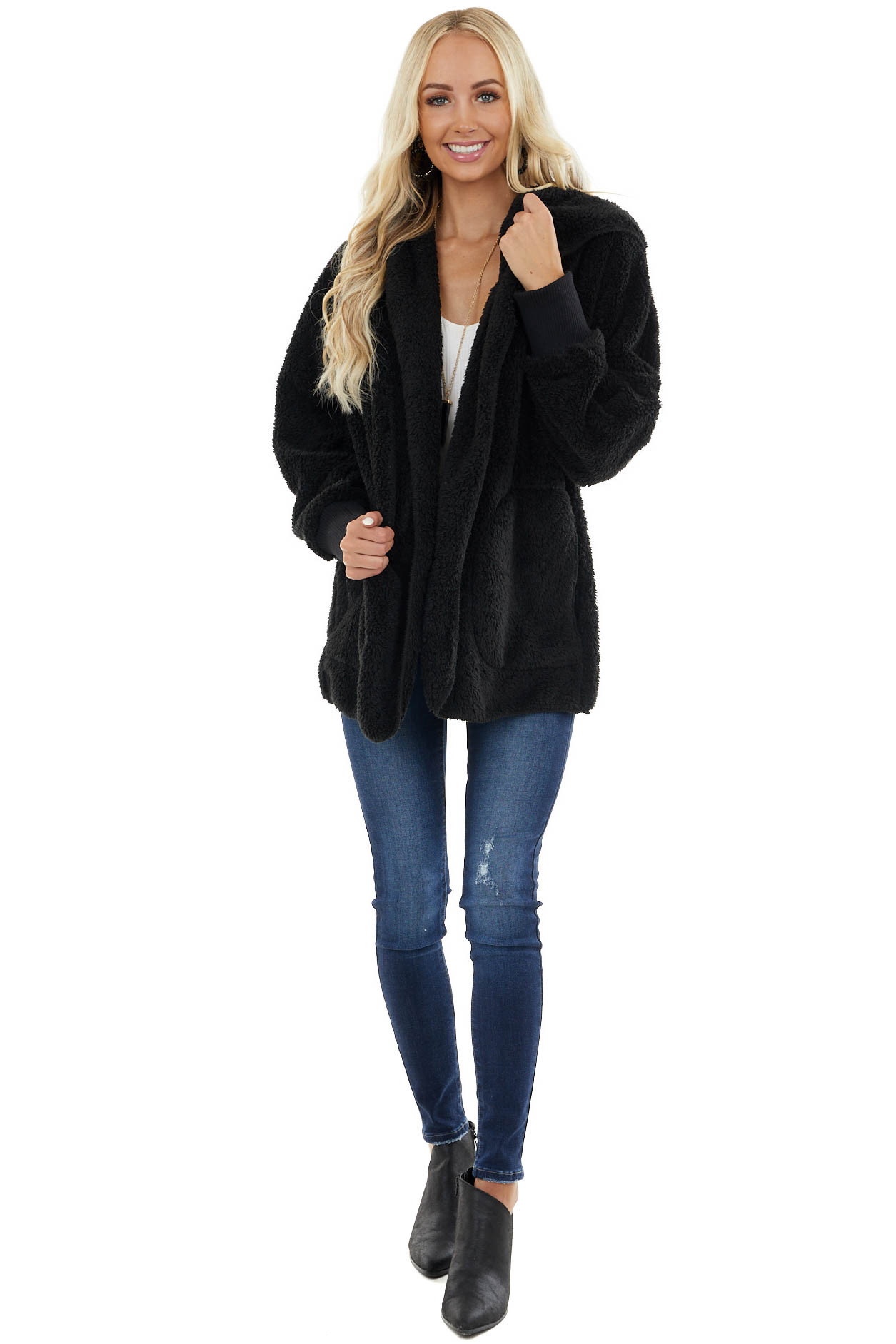 Black Fuzzy Fleece Hooded Cardigan with Front Pockets