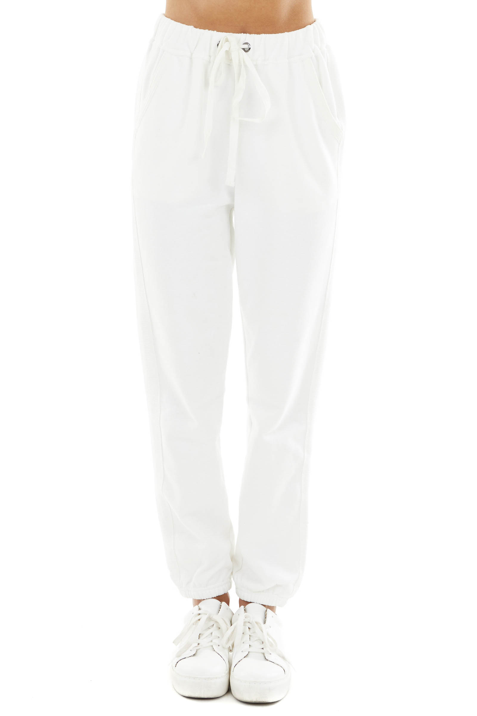 Ivory Drawstring Waist Sweatpants with Elastic Cuff