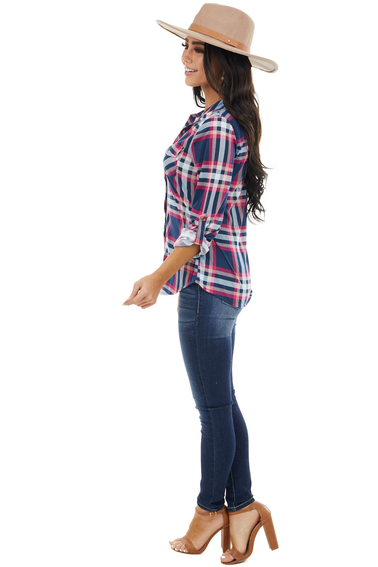 Navy and Fuchsia Plaid Top with Chest Pocket