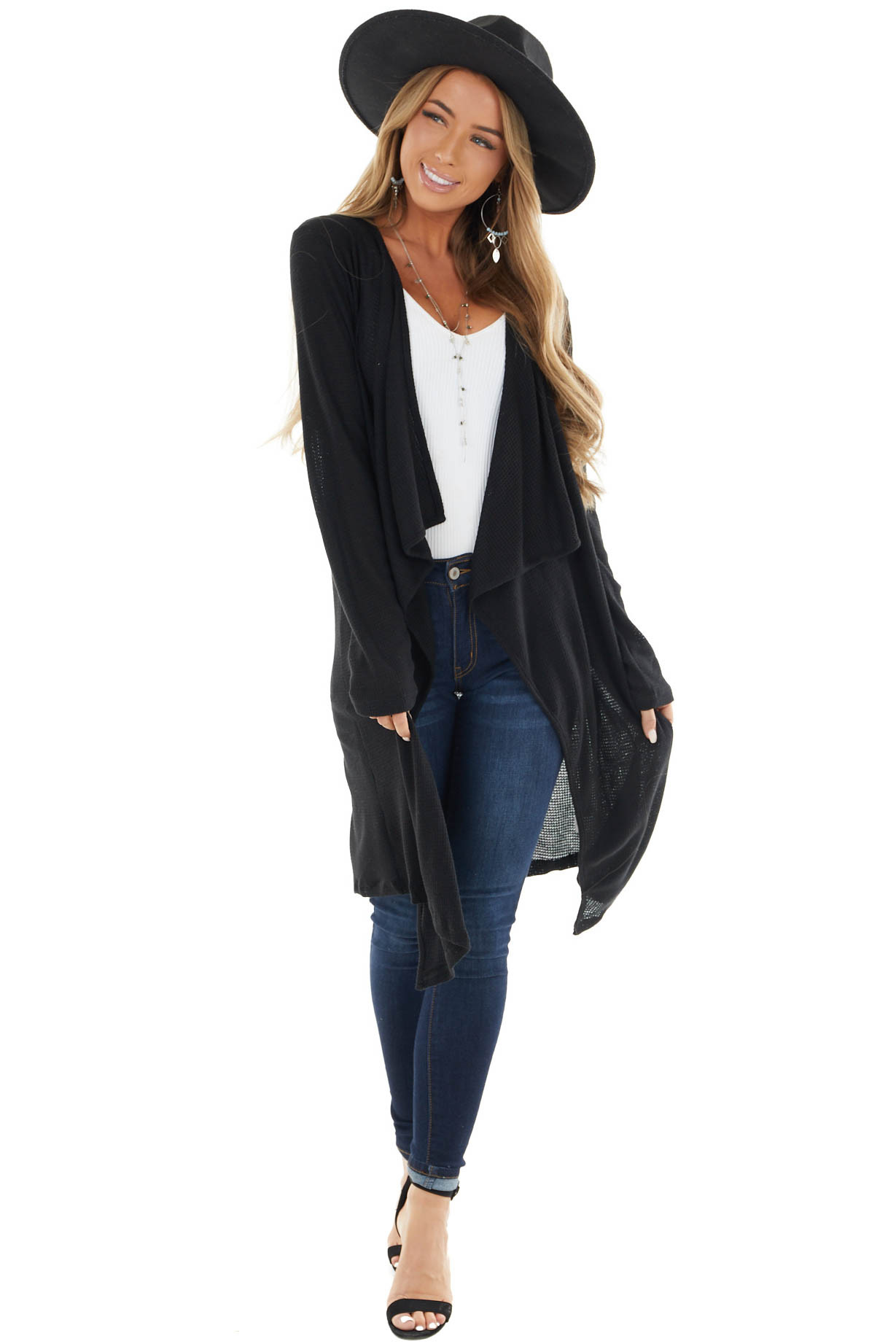 Black Draped Open Waffle Knit Cardigan with Long Sleeves