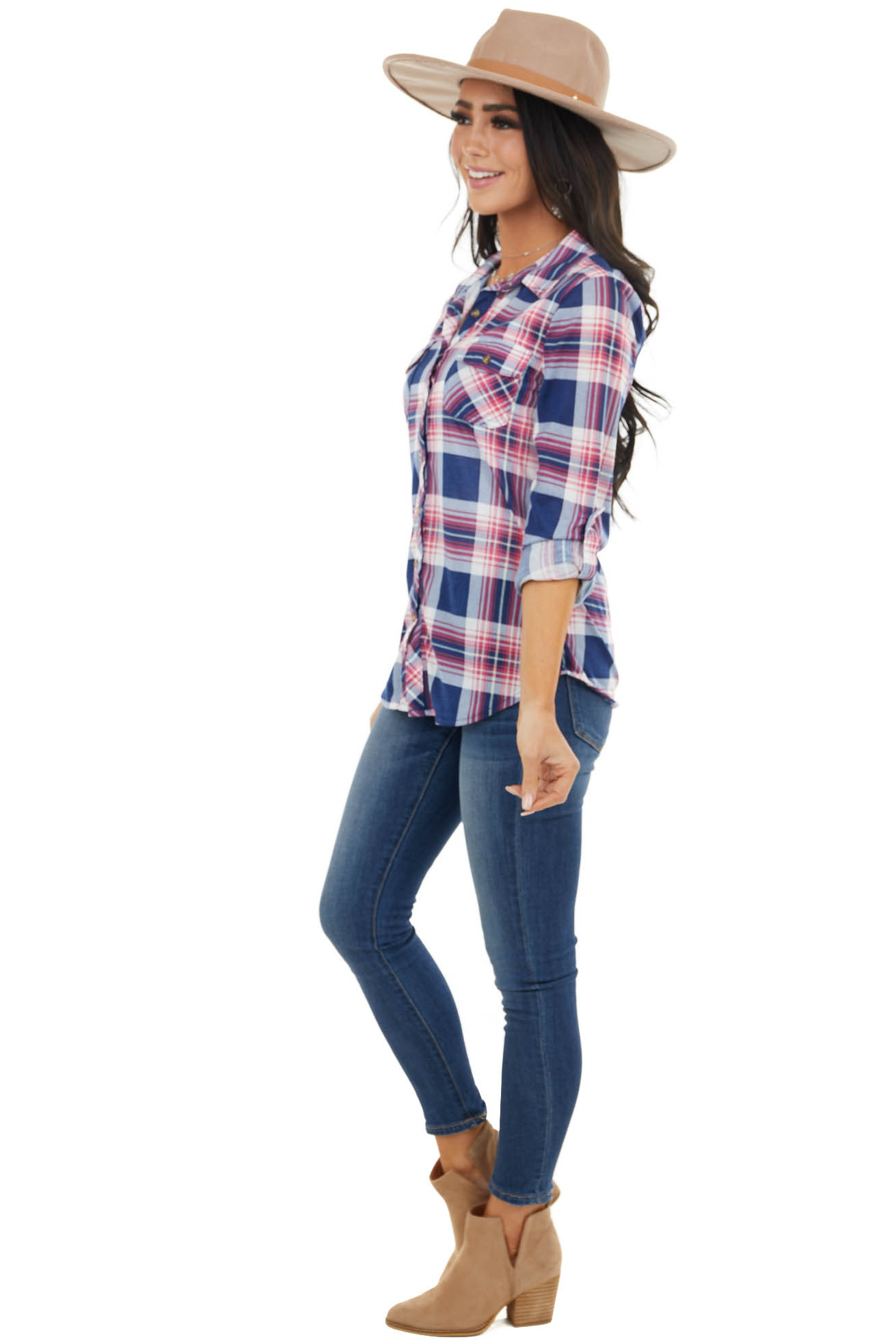 Navy and Hot Pink Plaid Button Up Top with Chest Pockets