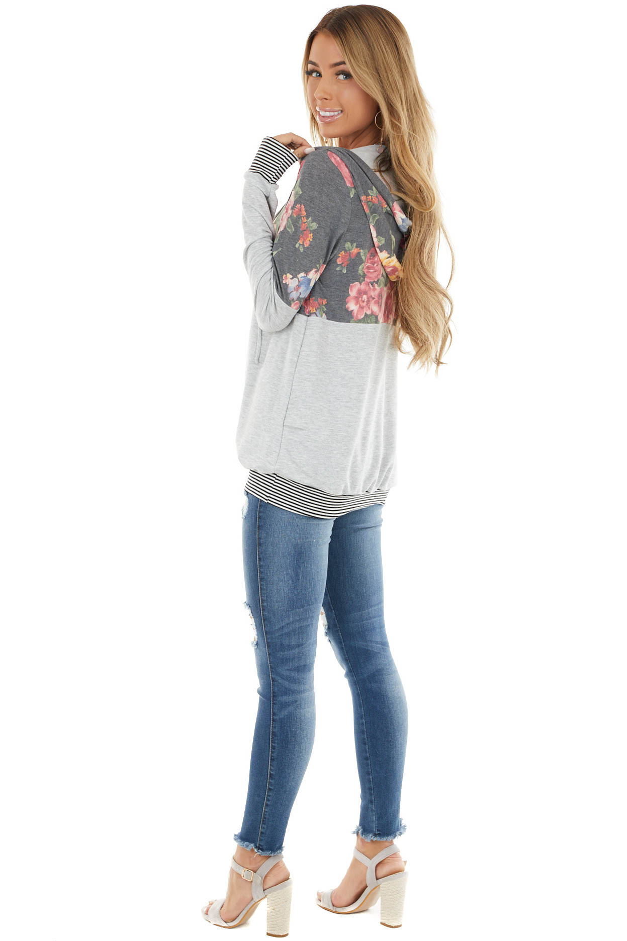 Stormy Grey Floral and Striped Hoodie with Drawstrings