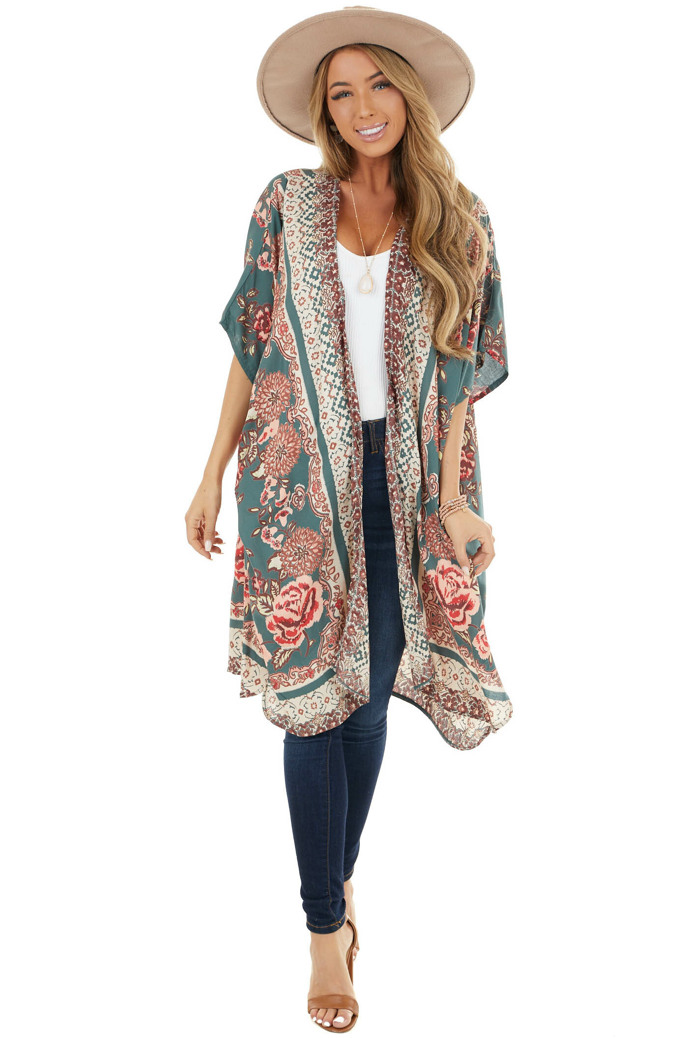Dark Teal and Cocoa Floral Print Kimono with Short Sleeves