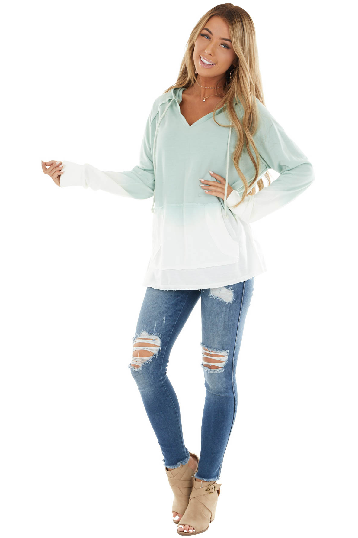 Light Sage Ombre V Neck Drawstring Hoodie with Pouch