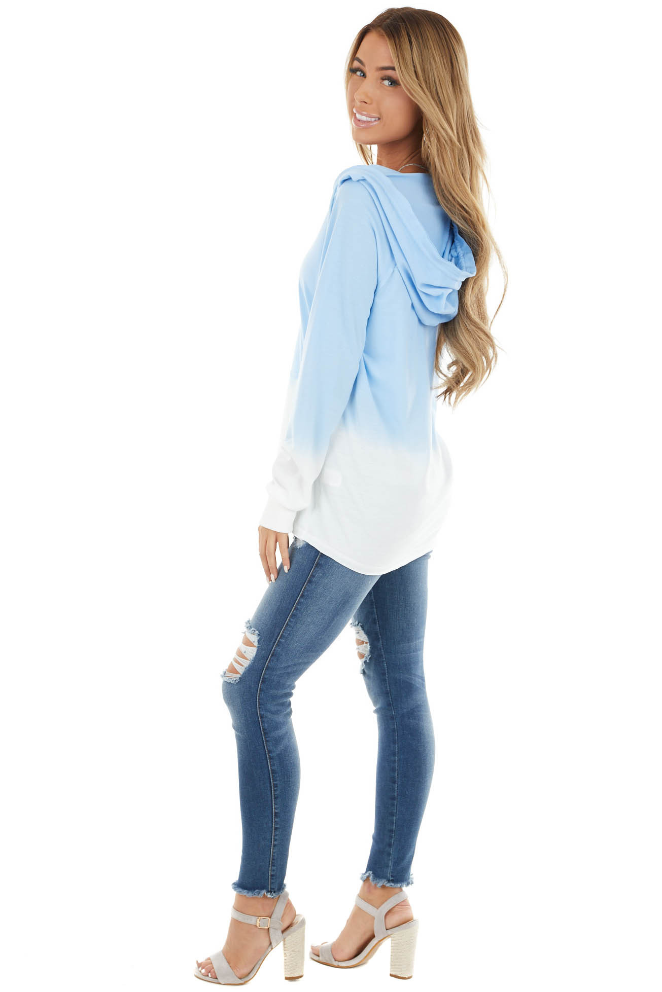 Dusty Blue Ombre V Neck Drawstring Hoodie with Pouch