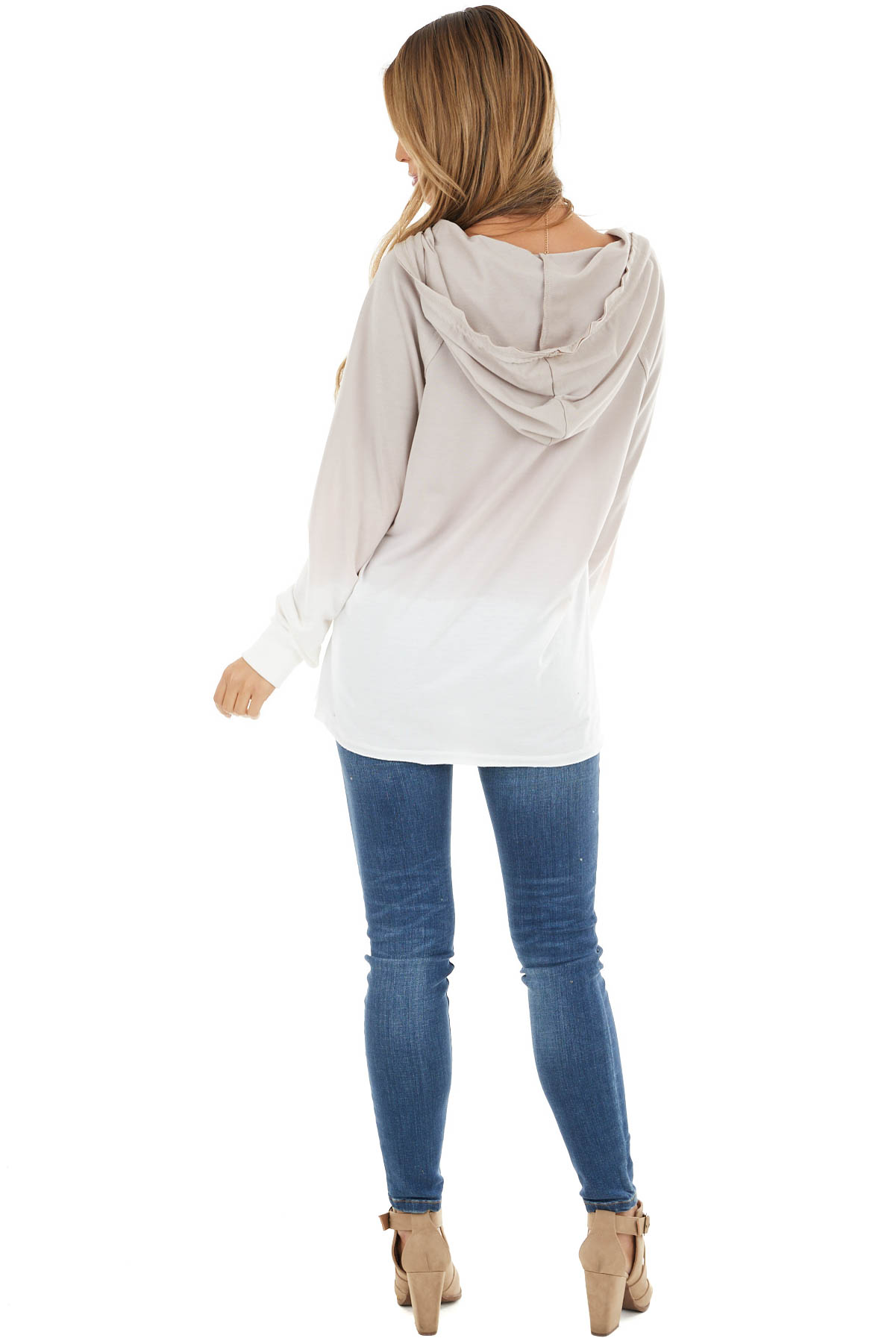 Dusty Rose Ombre V Neck Drawstring Hoodie with Pouch