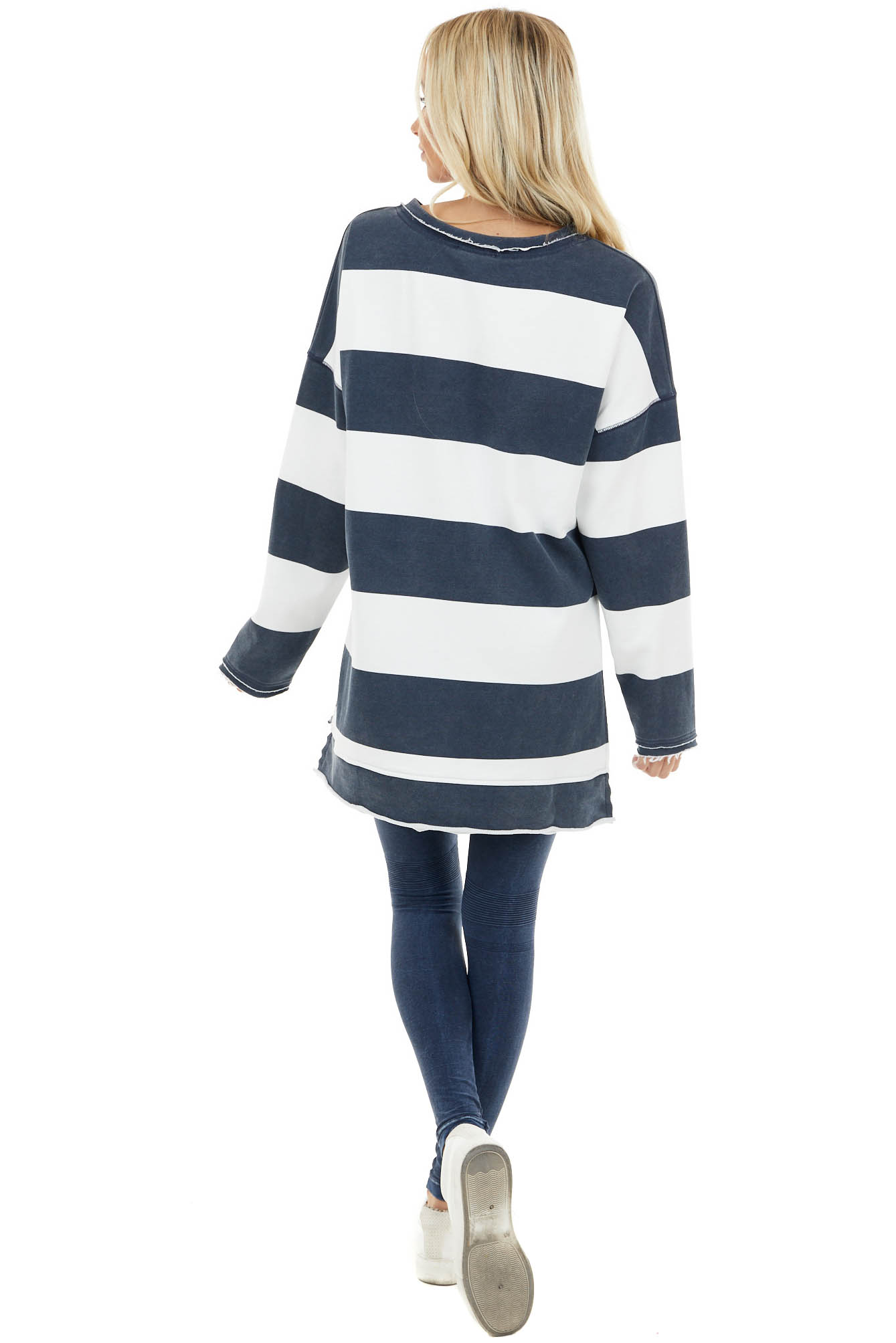 Vintage Navy and White Striped Print Long Sleeve Knit Top