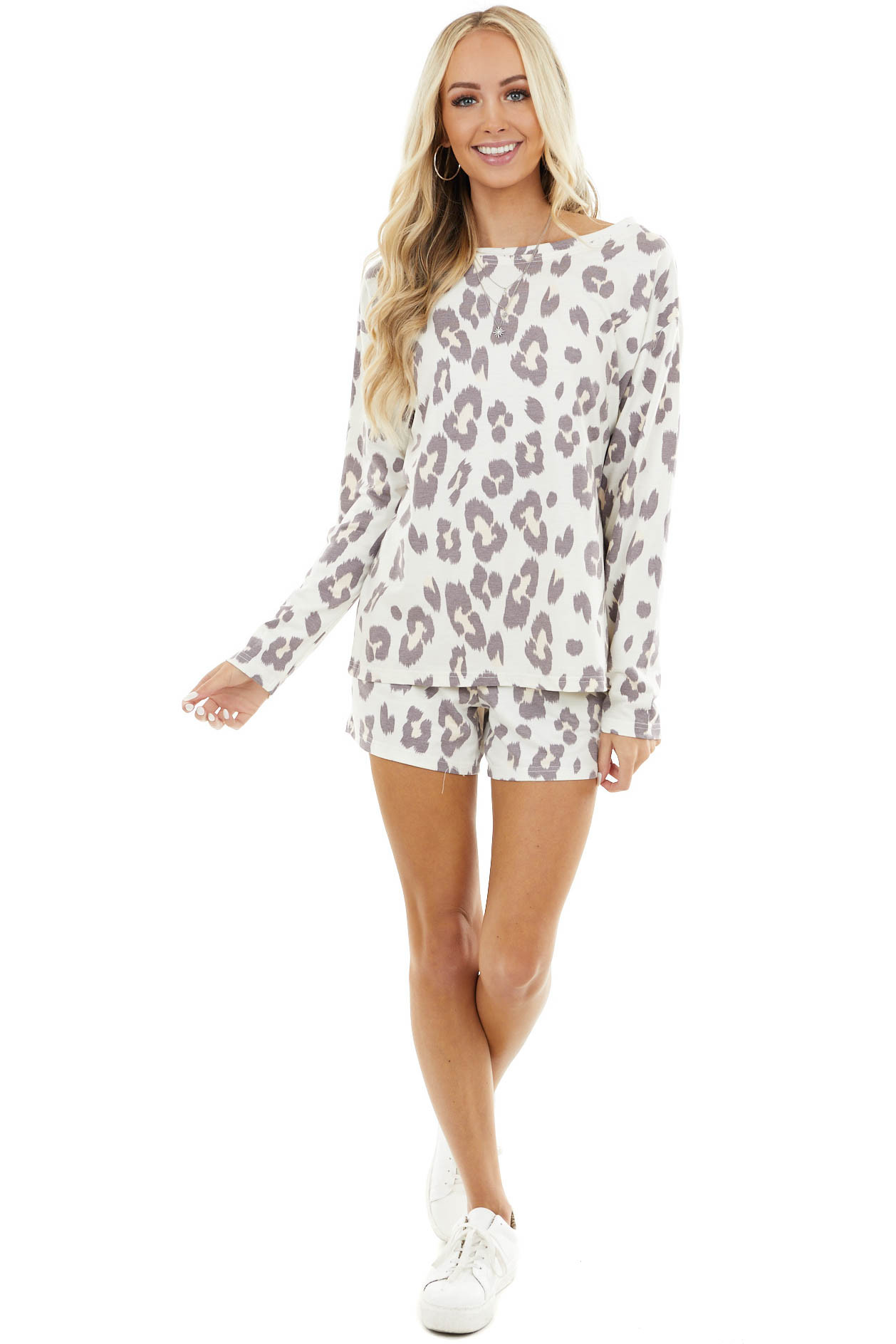 Cream Leopard Print Long Sleeve Top and Drawstring Short Set