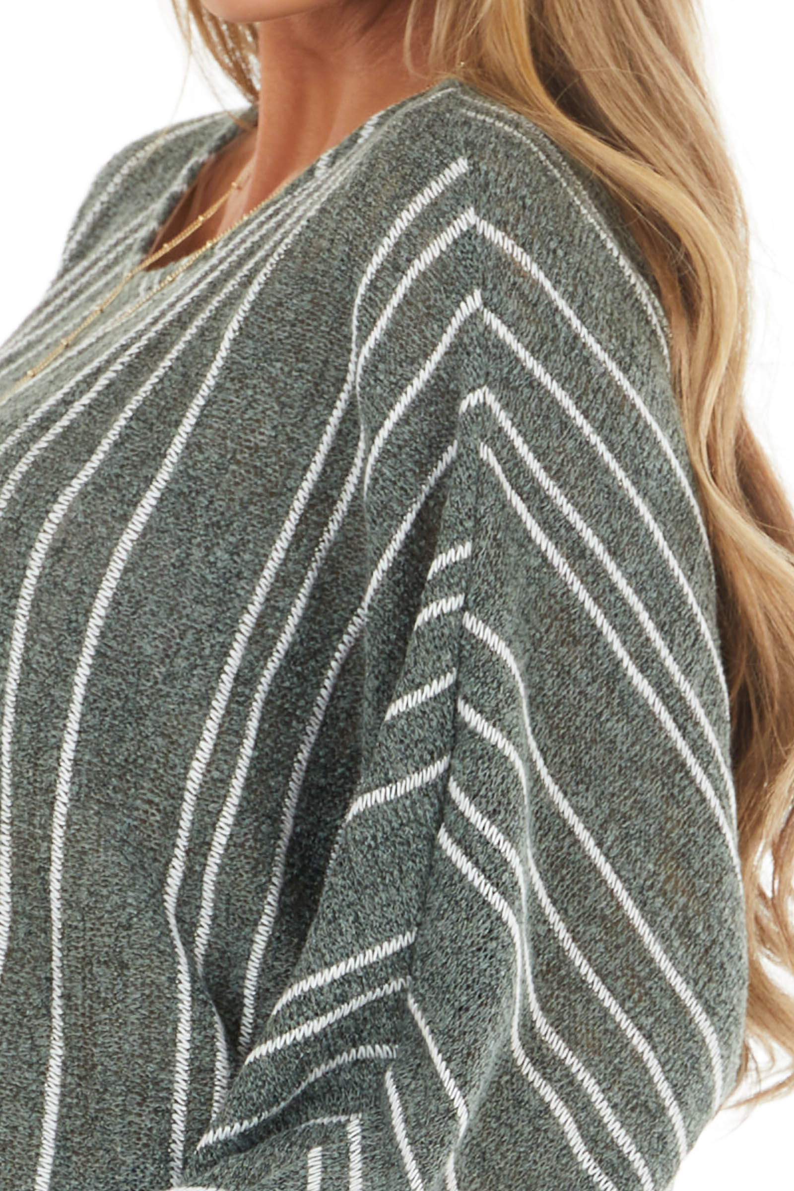 Dusty Olive Striped Loose Knit Sweater with Dolman Sleeves