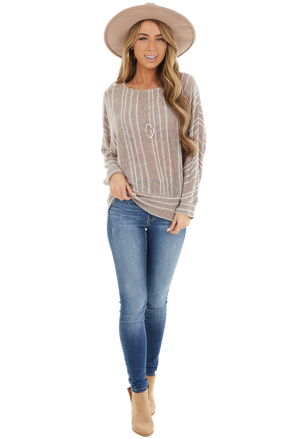 Beige Striped Loose Knit Sweater with Dolman Sleeves