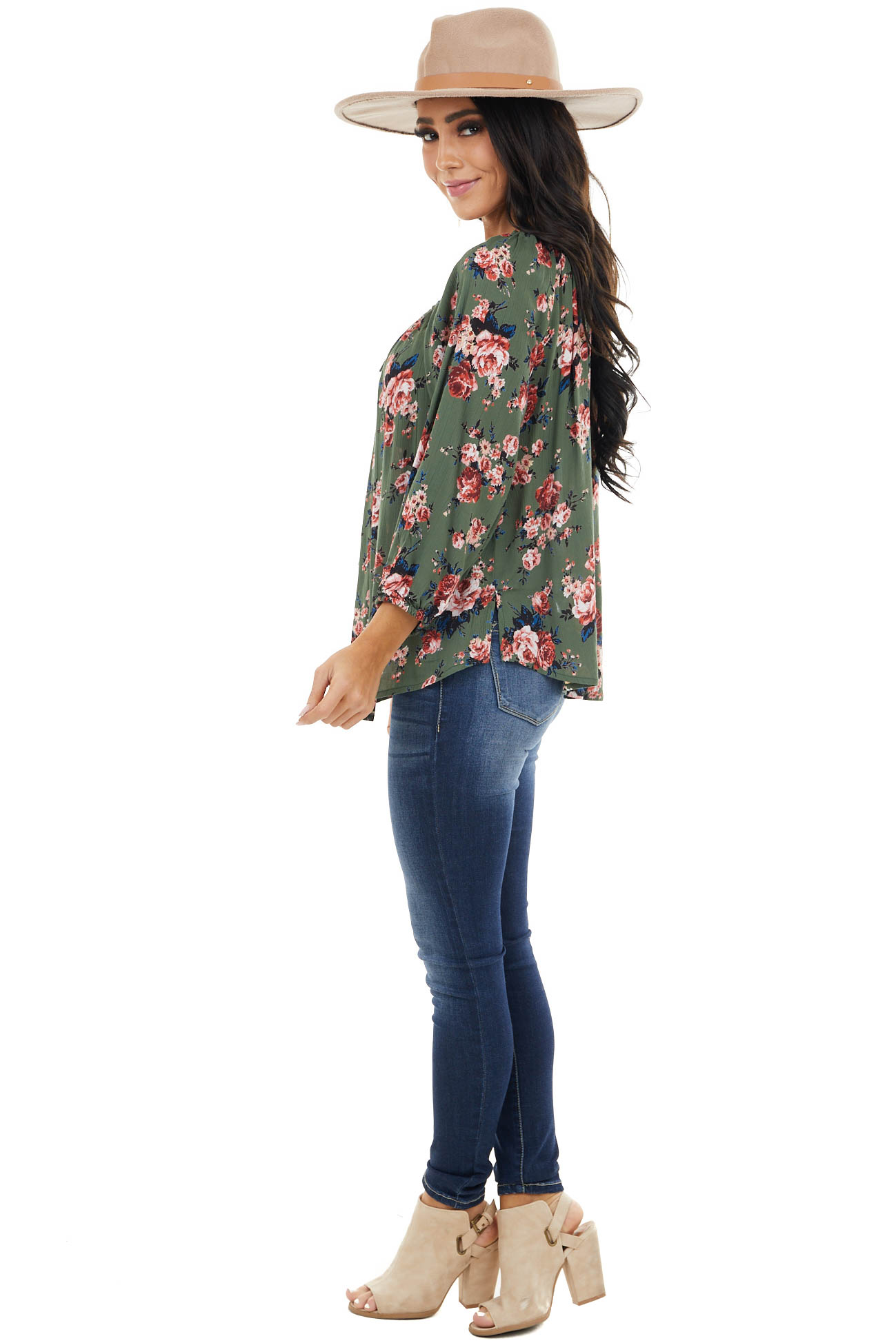 Dark Olive Floral Print Blouse with Front Keyhole and Tie