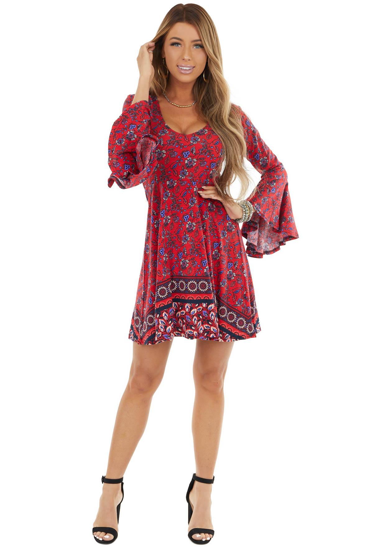 Cranberry and Periwinkle Baby Doll Dress with Ruffle Sleeve