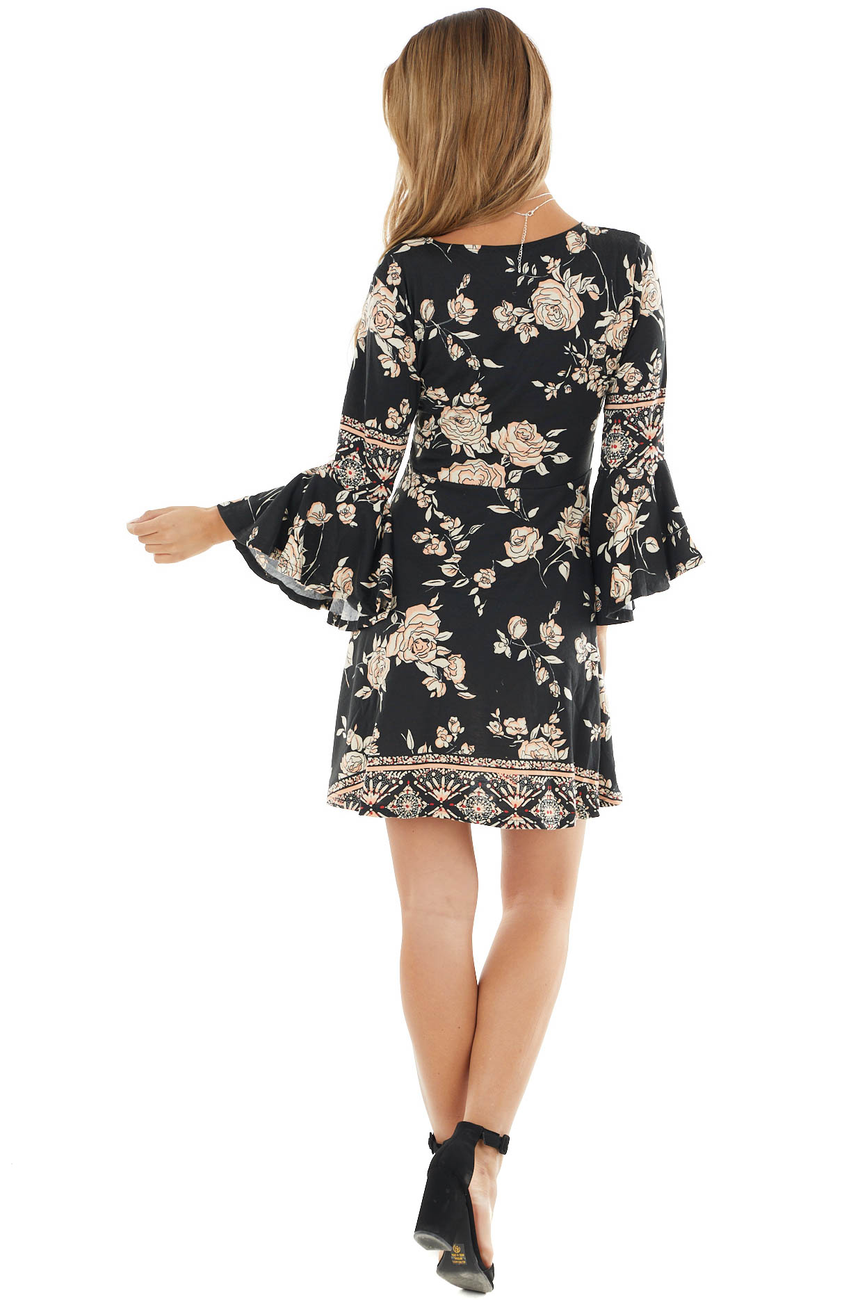Black and Salmon Floral Baby Doll Dress with Ruffle Sleeve