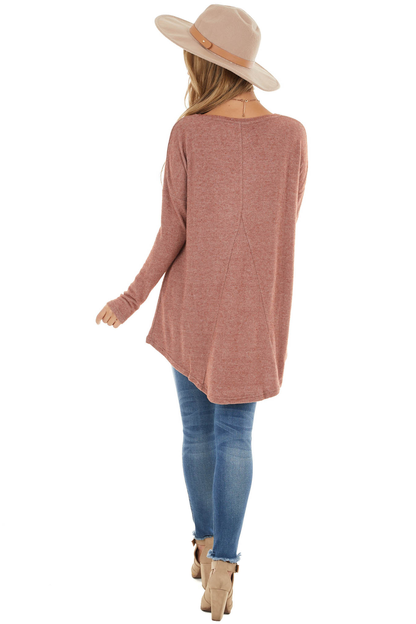 Marsala Fuzzy Knit High Low Tunic Top with Long Sleeves