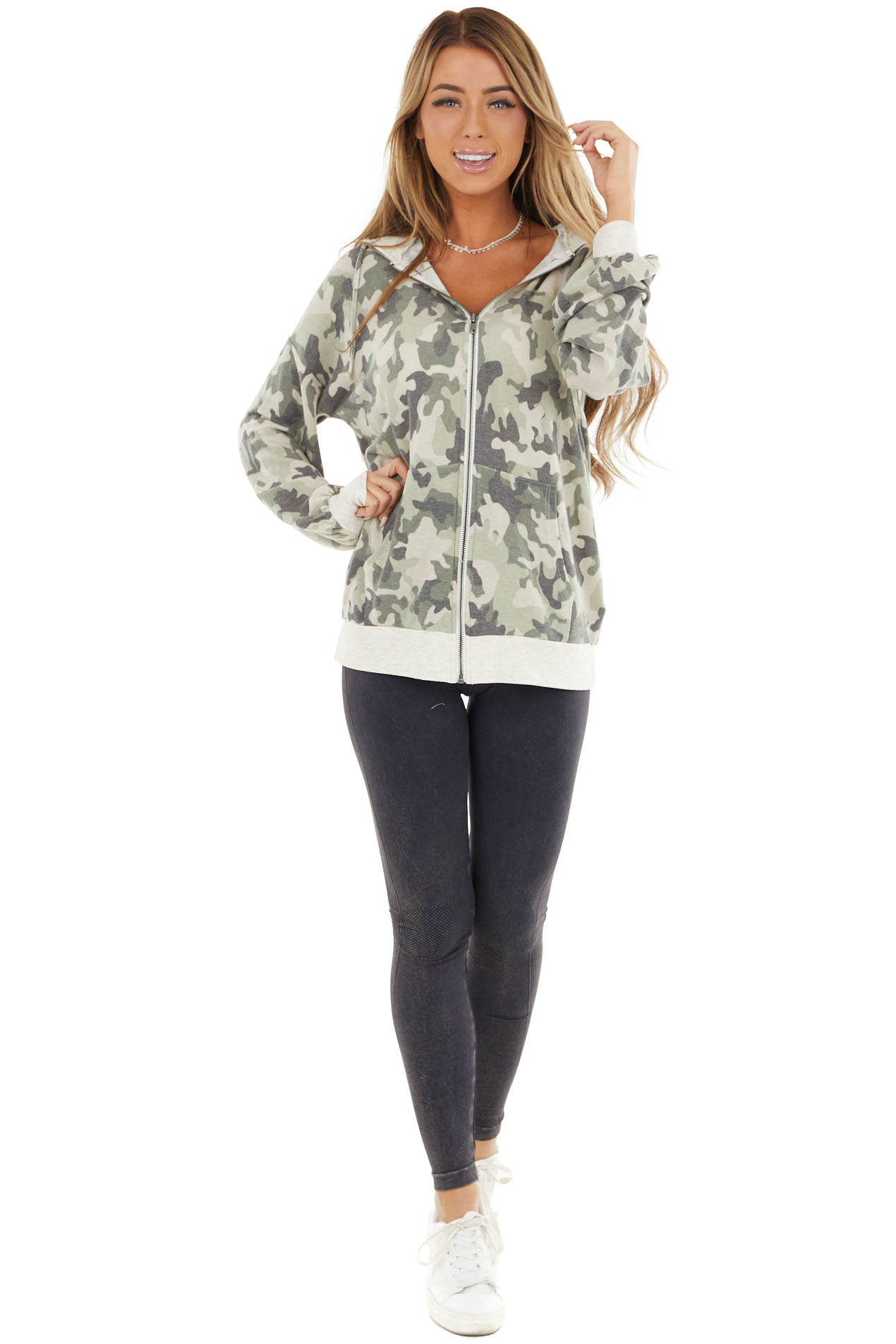 Light Sage Camo Knit Hoodie with Ribbed Hemline