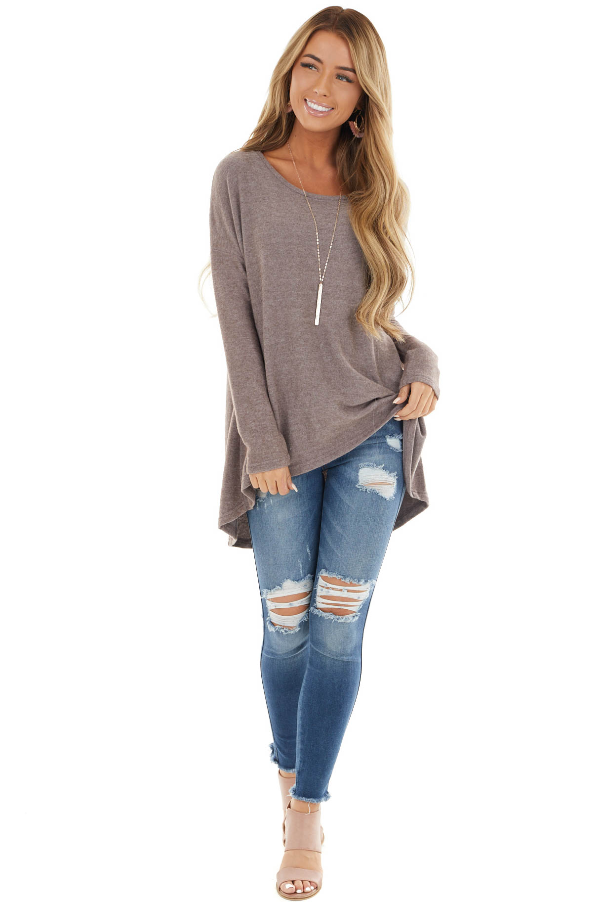 Mocha Fuzzy Knit High Low Tunic Top with Long Sleeves