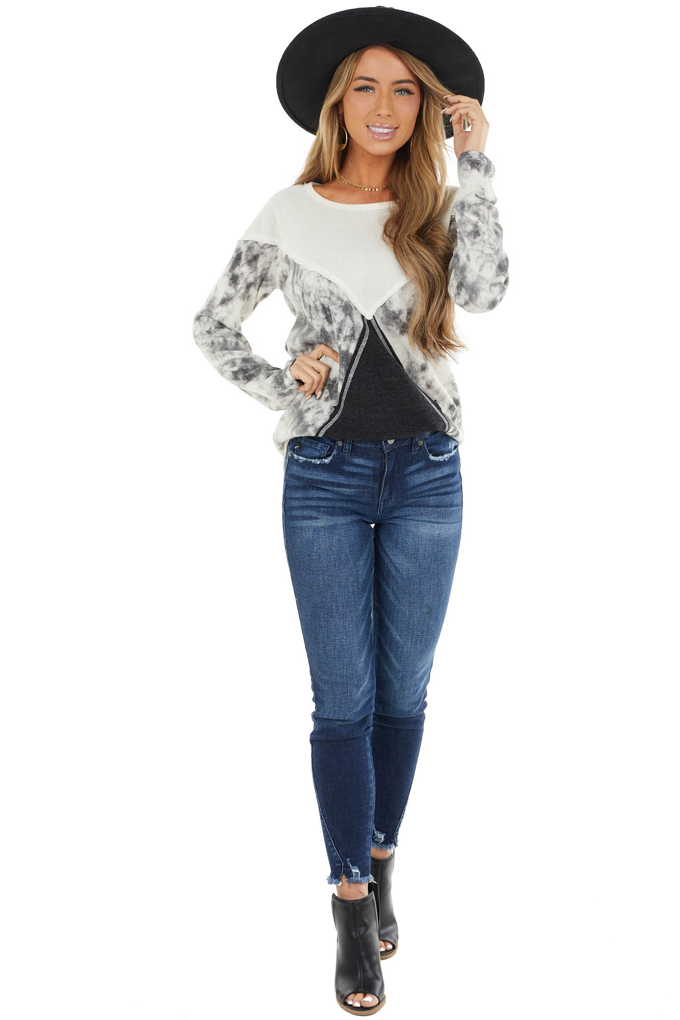 Ivory and Black Tie Dye Color Block Long Sleeve Top